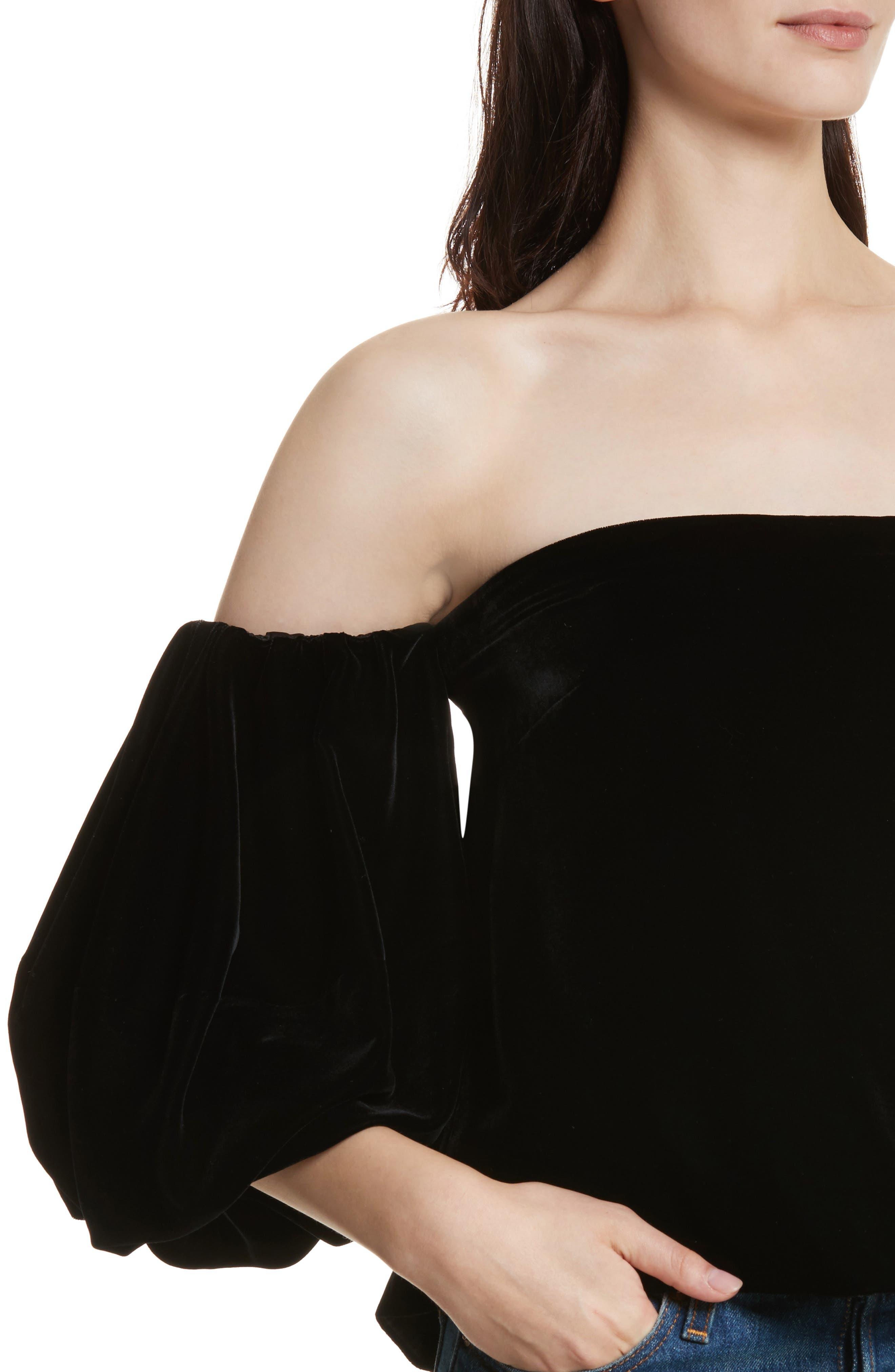 Simmy Velvet Off the Shoulder Top,                             Alternate thumbnail 4, color,                             Black