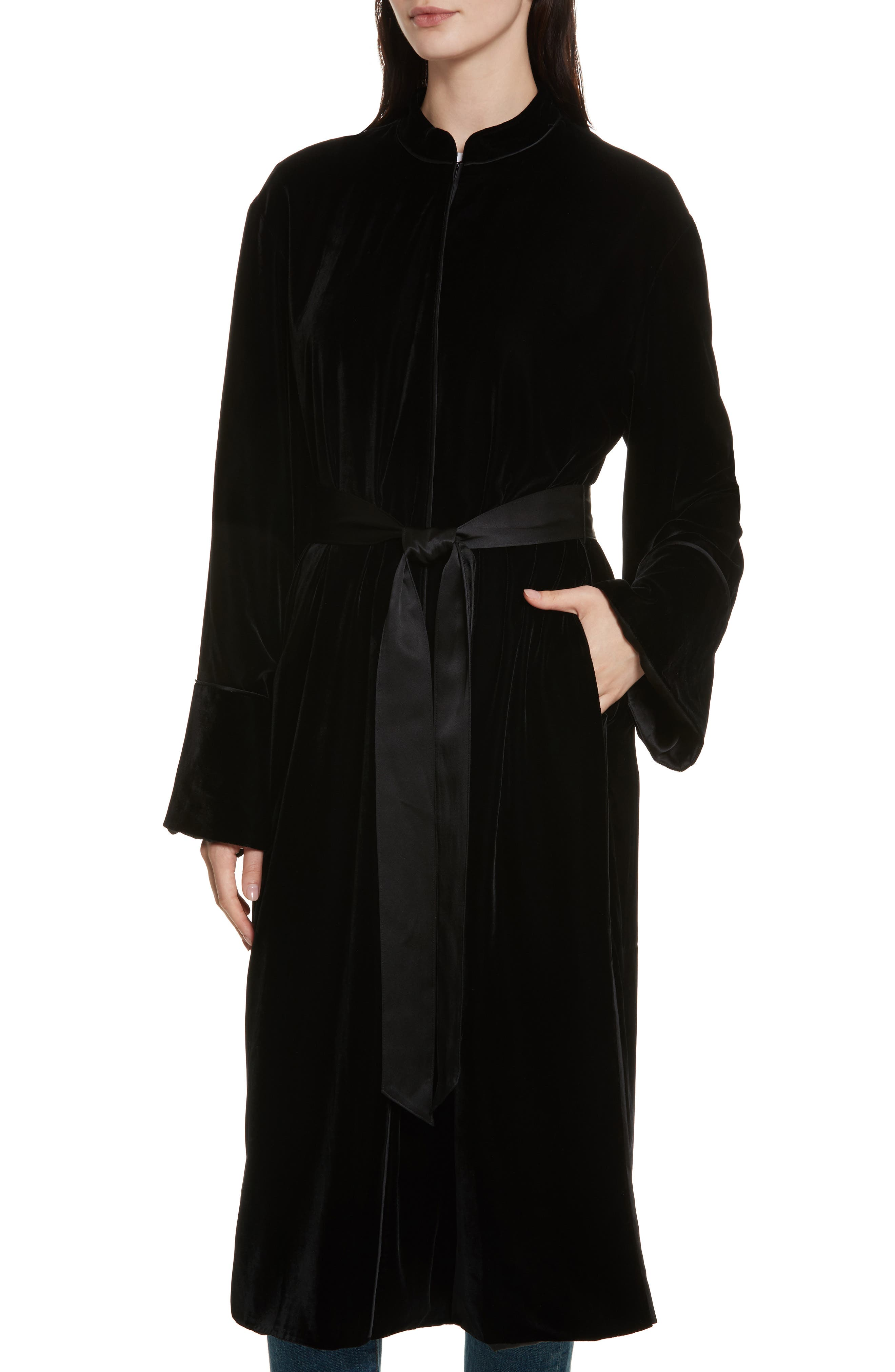 Mitzi Velvet Coat,                             Alternate thumbnail 4, color,                             Black