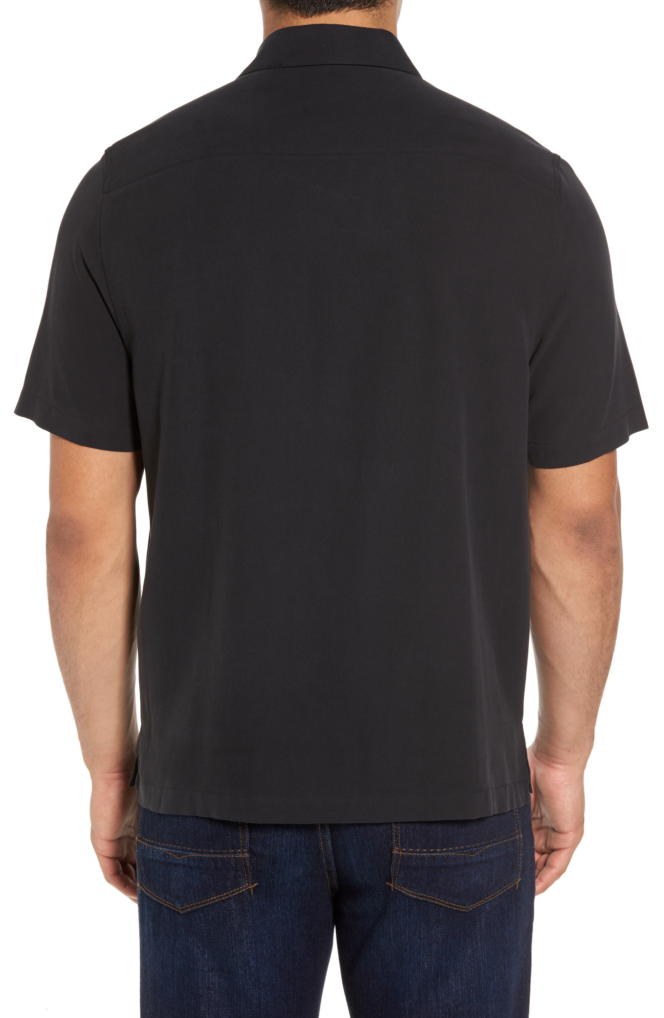 Regular Fit Embroidered Silk Sport Shirt,                             Alternate thumbnail 2, color,                             Black