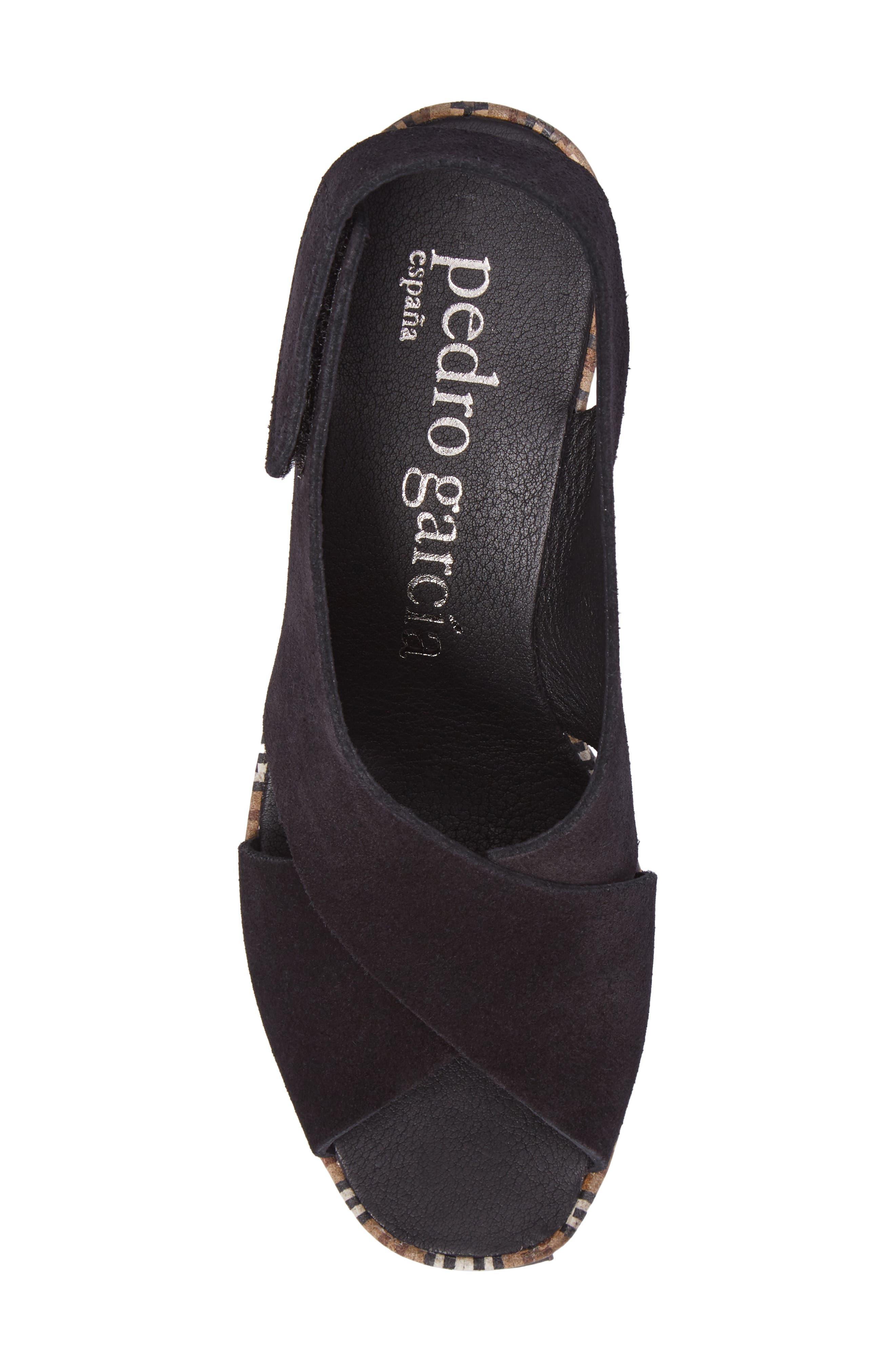 'Federica' Wedge Sandal,                             Alternate thumbnail 5, color,                             Black Castoro