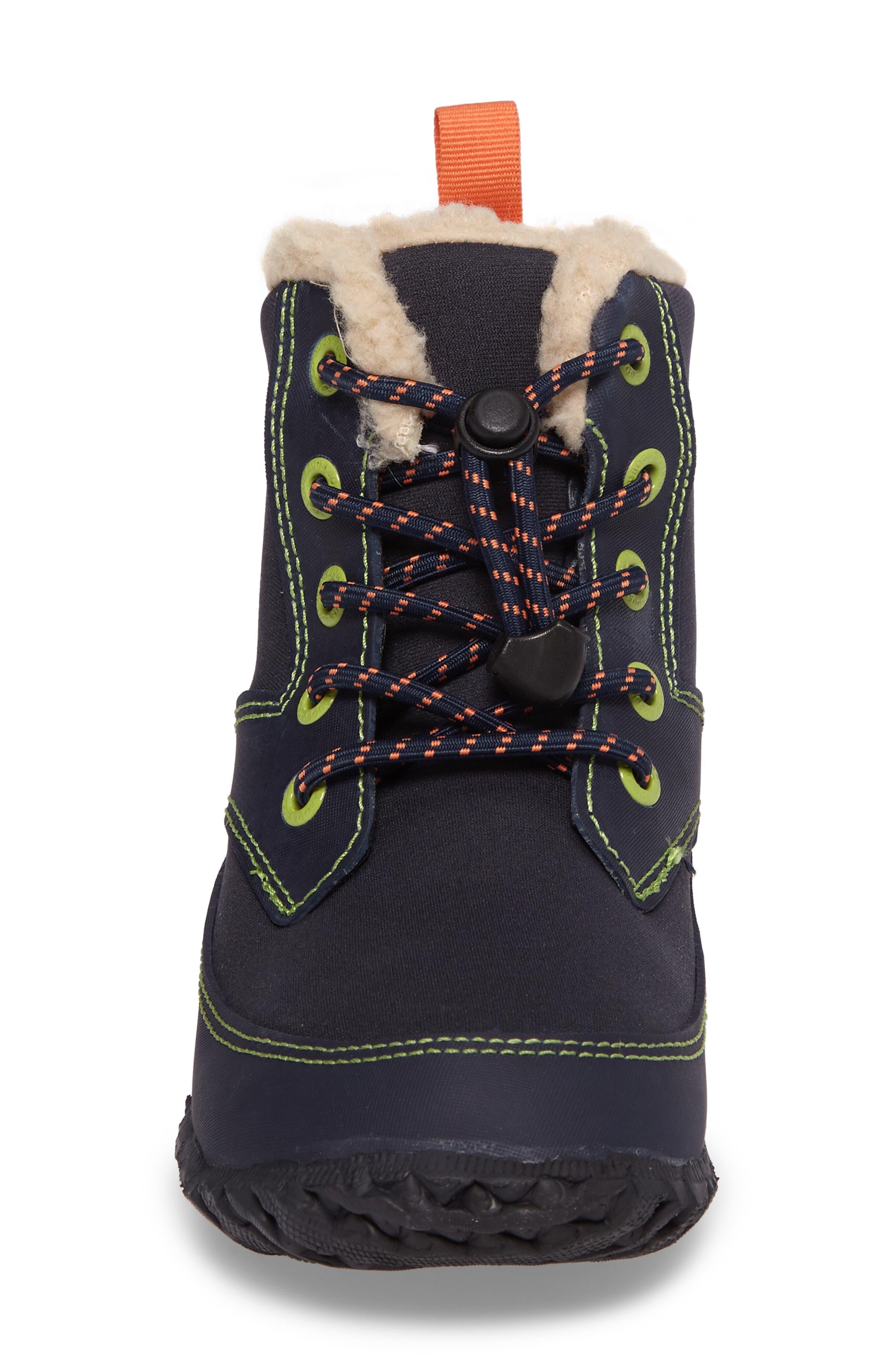 Skyler Faux Fur Insulated Waterproof Boot,                             Alternate thumbnail 4, color,                             Dark Blue Multi