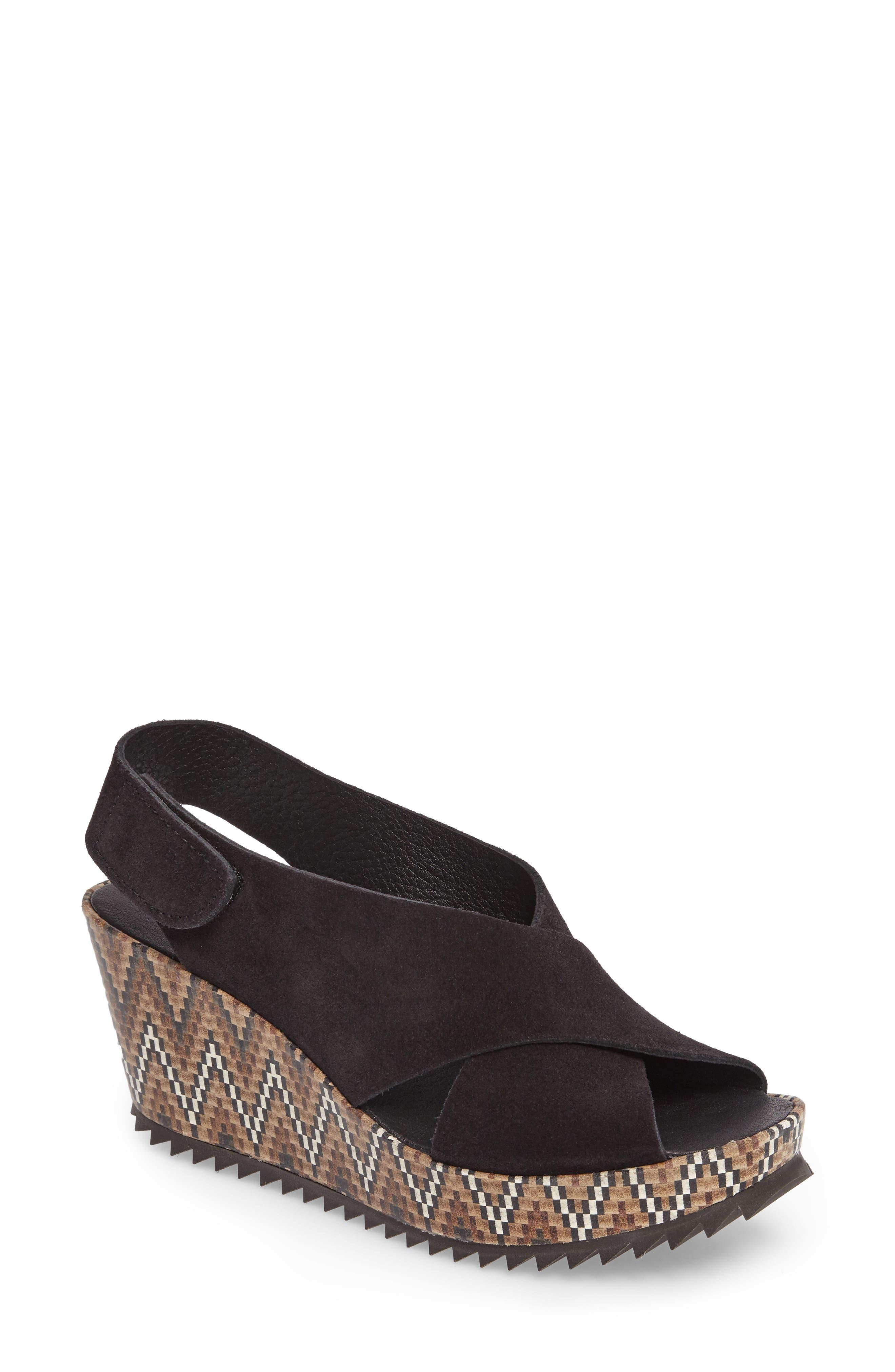 'Federica' Wedge Sandal,                             Main thumbnail 1, color,                             Black Castoro