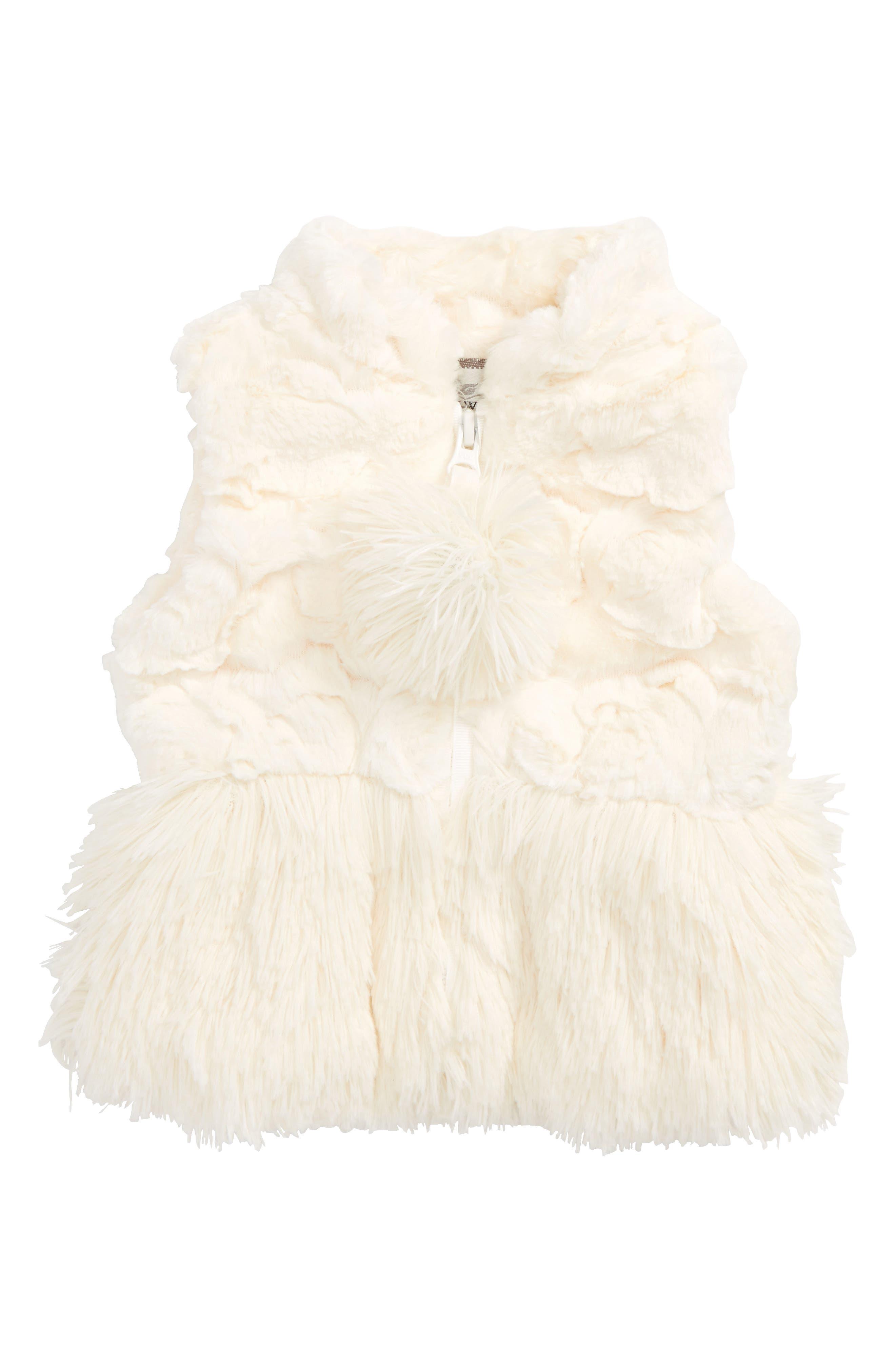 Faux Fur Peplum Vest,                         Main,                         color, Cream Cloud