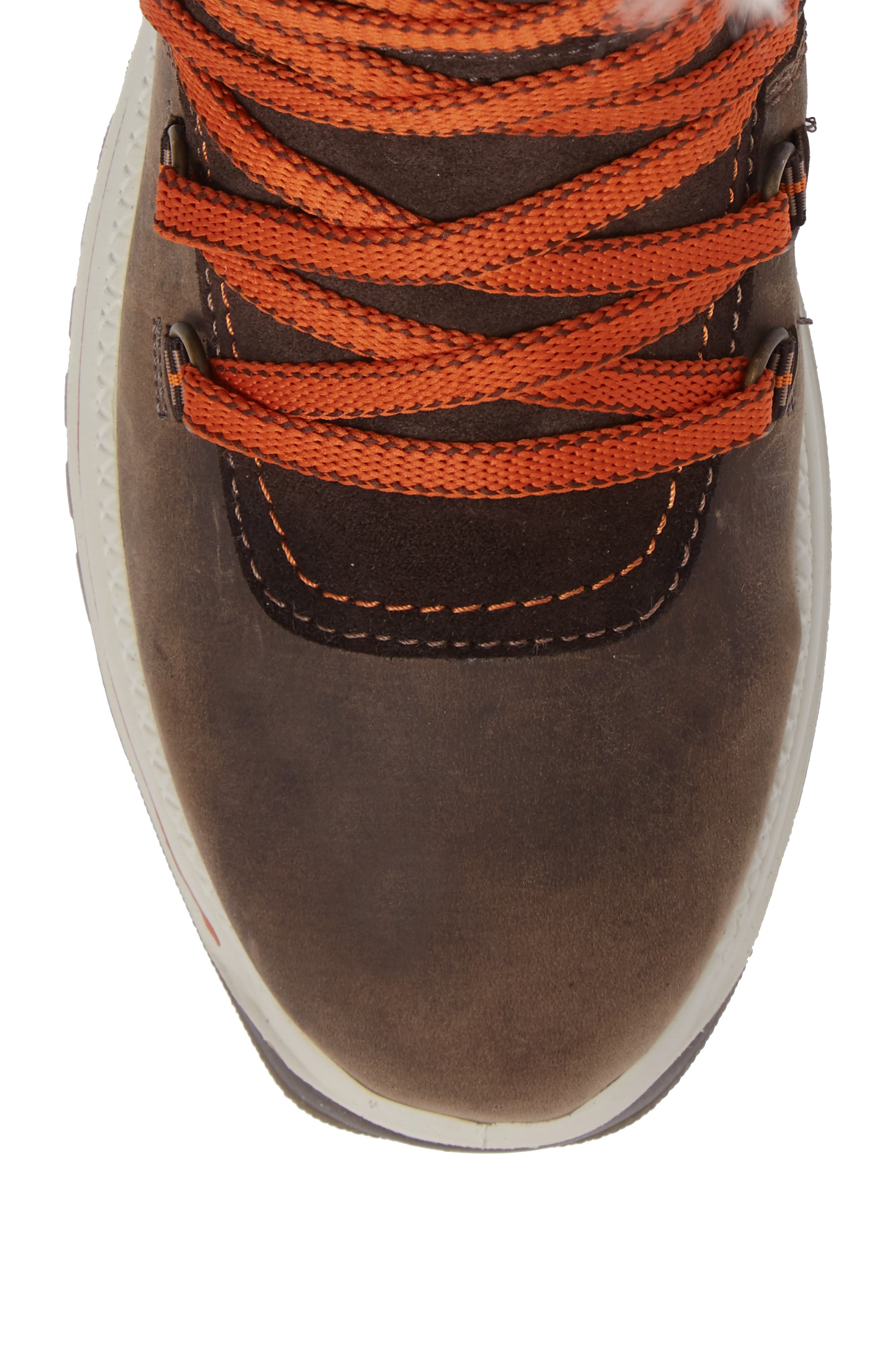 'Morella' Water Resistant Faux Fur Boot,                             Alternate thumbnail 5, color,                             Dark Brown Leather