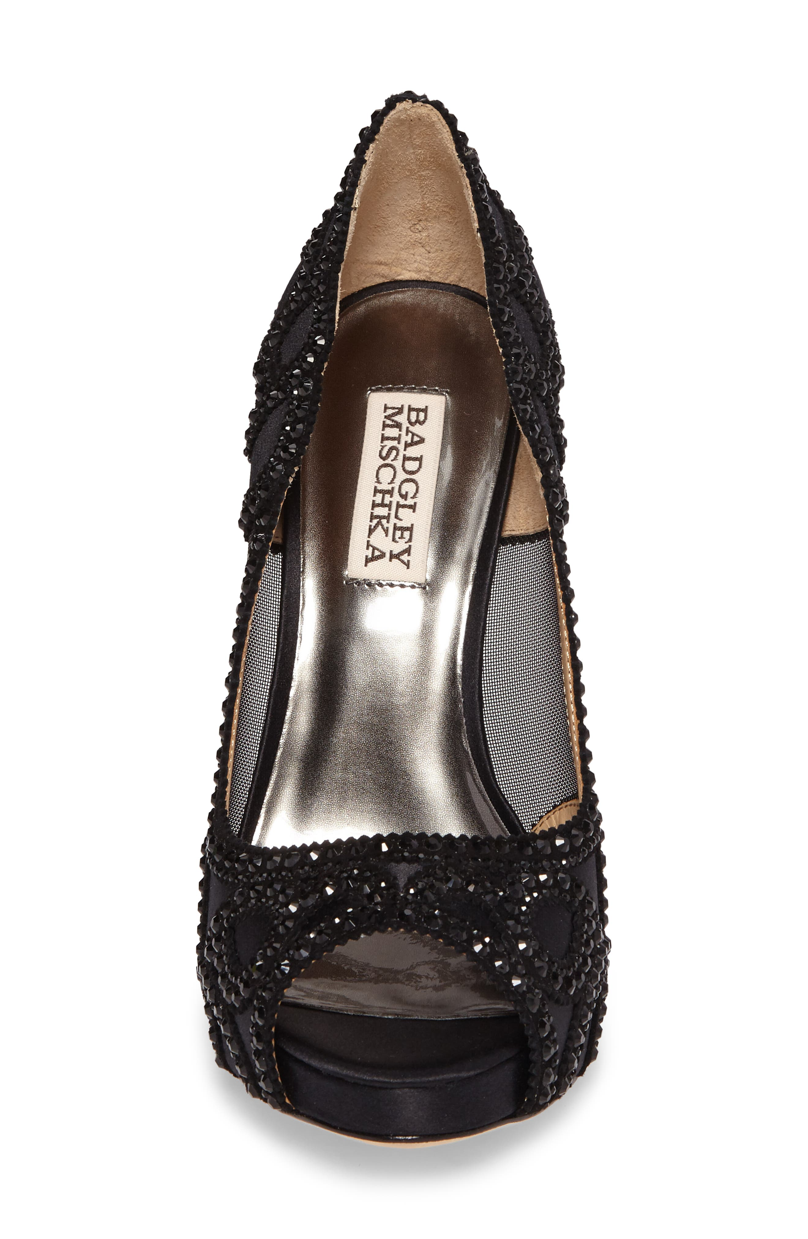 Witney Embellished Peep Toe Pump,                             Alternate thumbnail 4, color,                             Black Satin