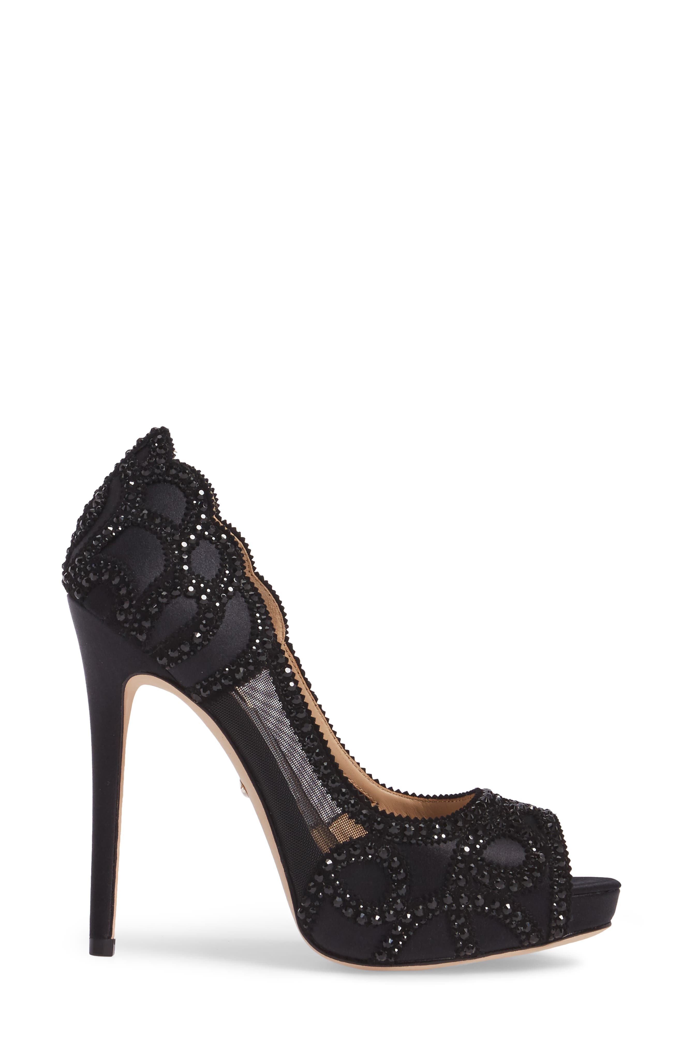 Witney Embellished Peep Toe Pump,                             Alternate thumbnail 3, color,                             Black Satin