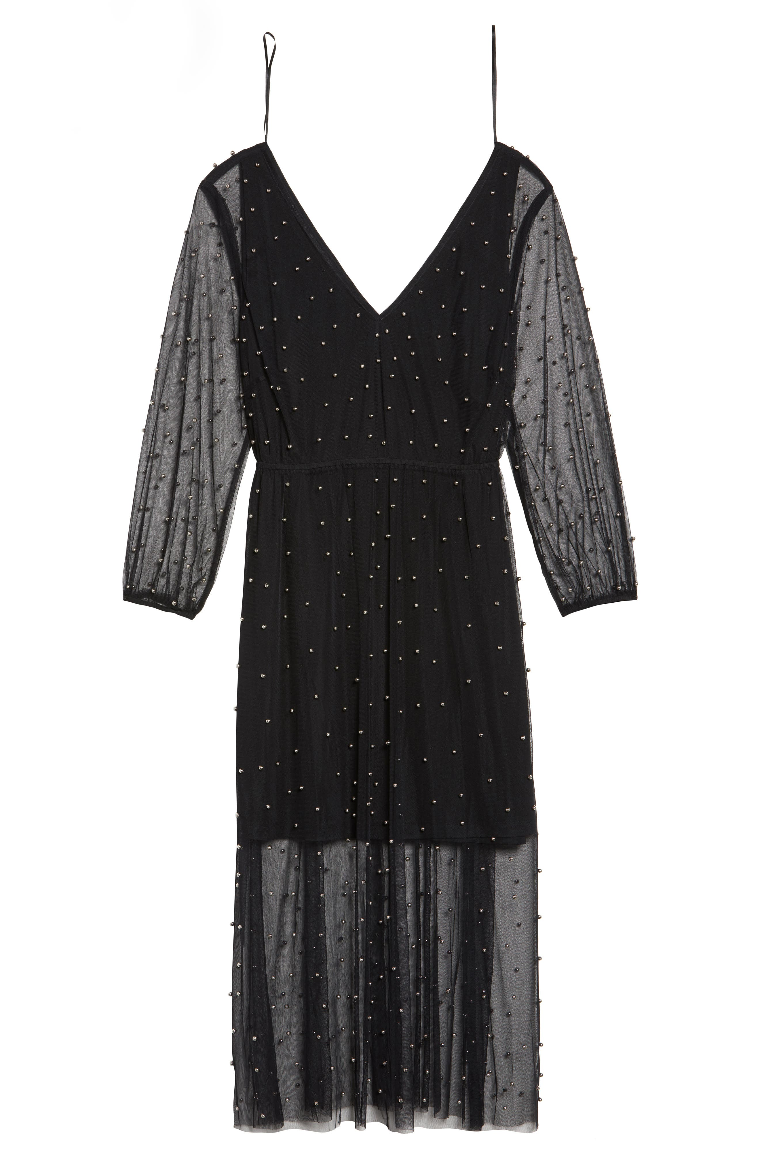 Beaded Mesh Midi Dress,                             Alternate thumbnail 6, color,                             Black
