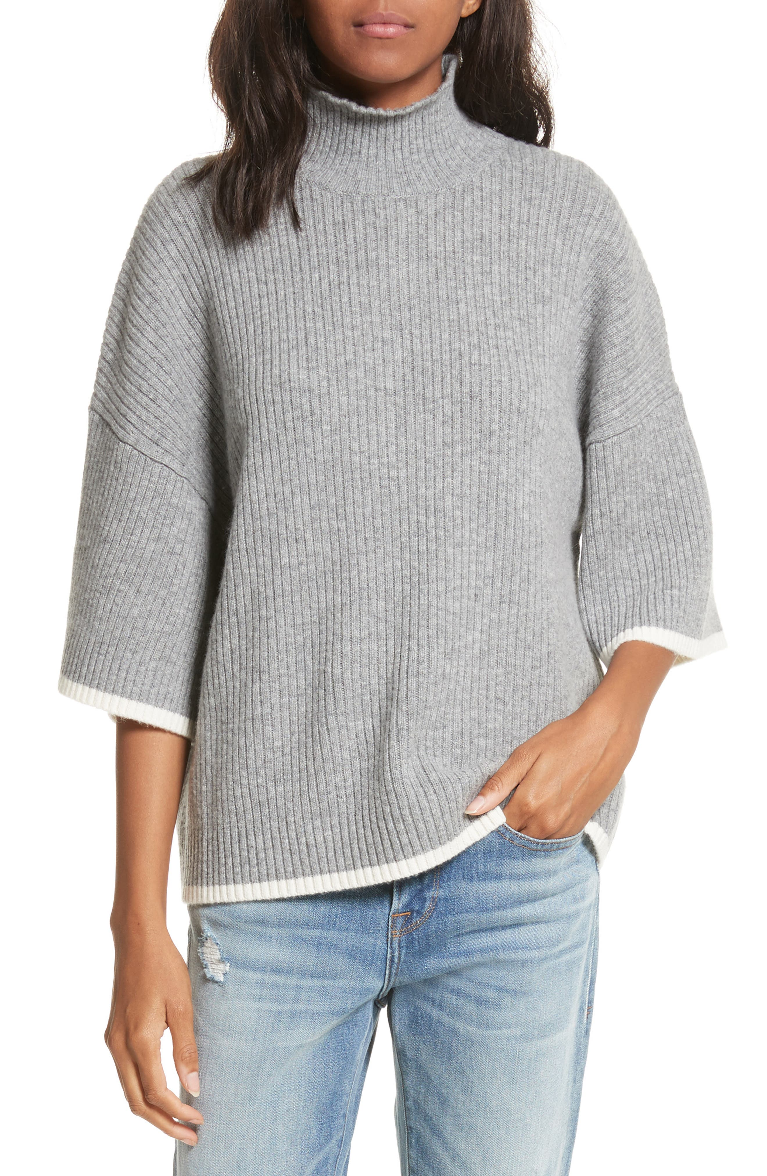 FRAME Tipped Wool & Cashmere Mock Neck Sweater