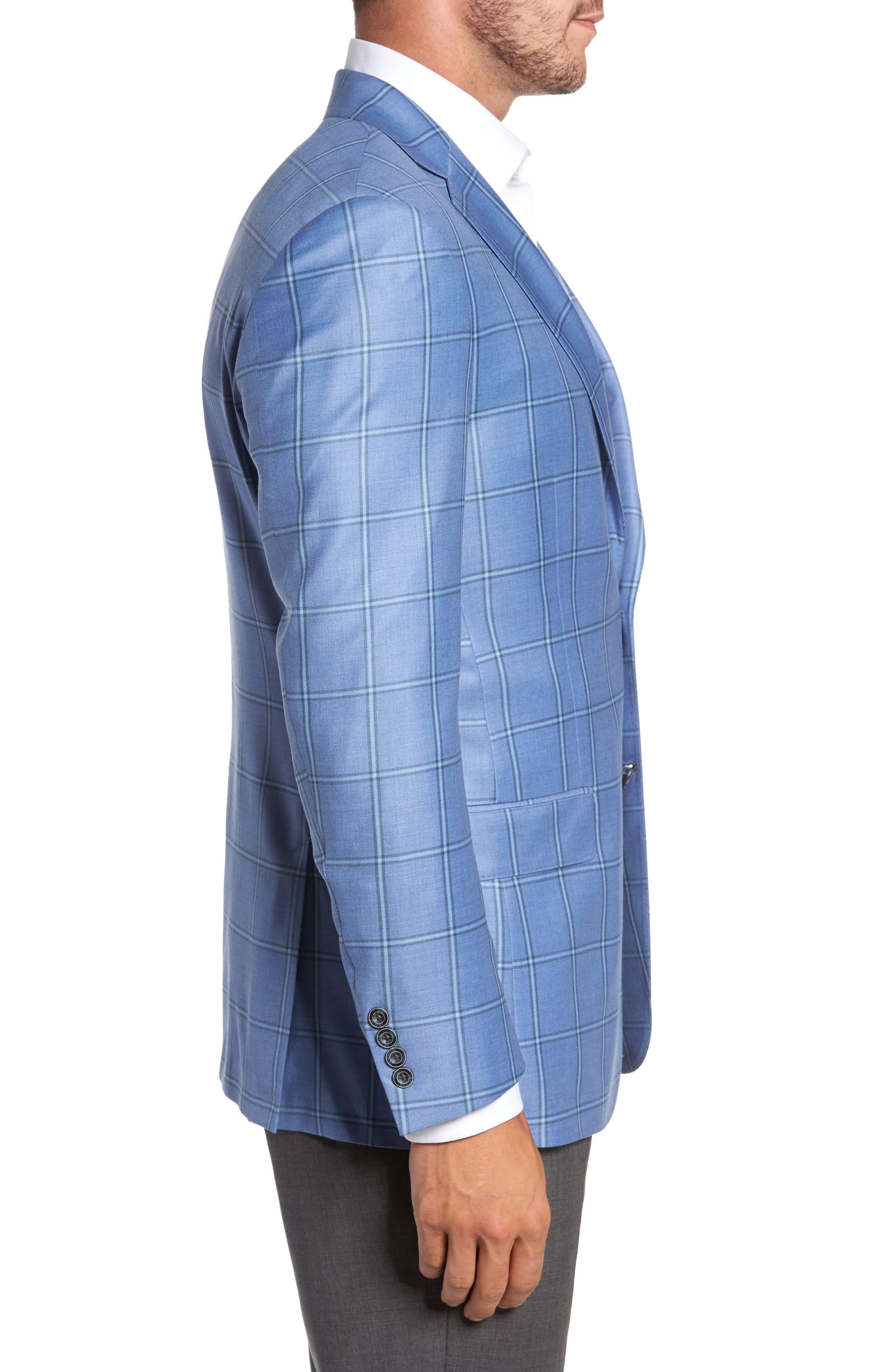 Classic Fit Windowpane Wool Sport Coat,                             Alternate thumbnail 3, color,                             Light Blue
