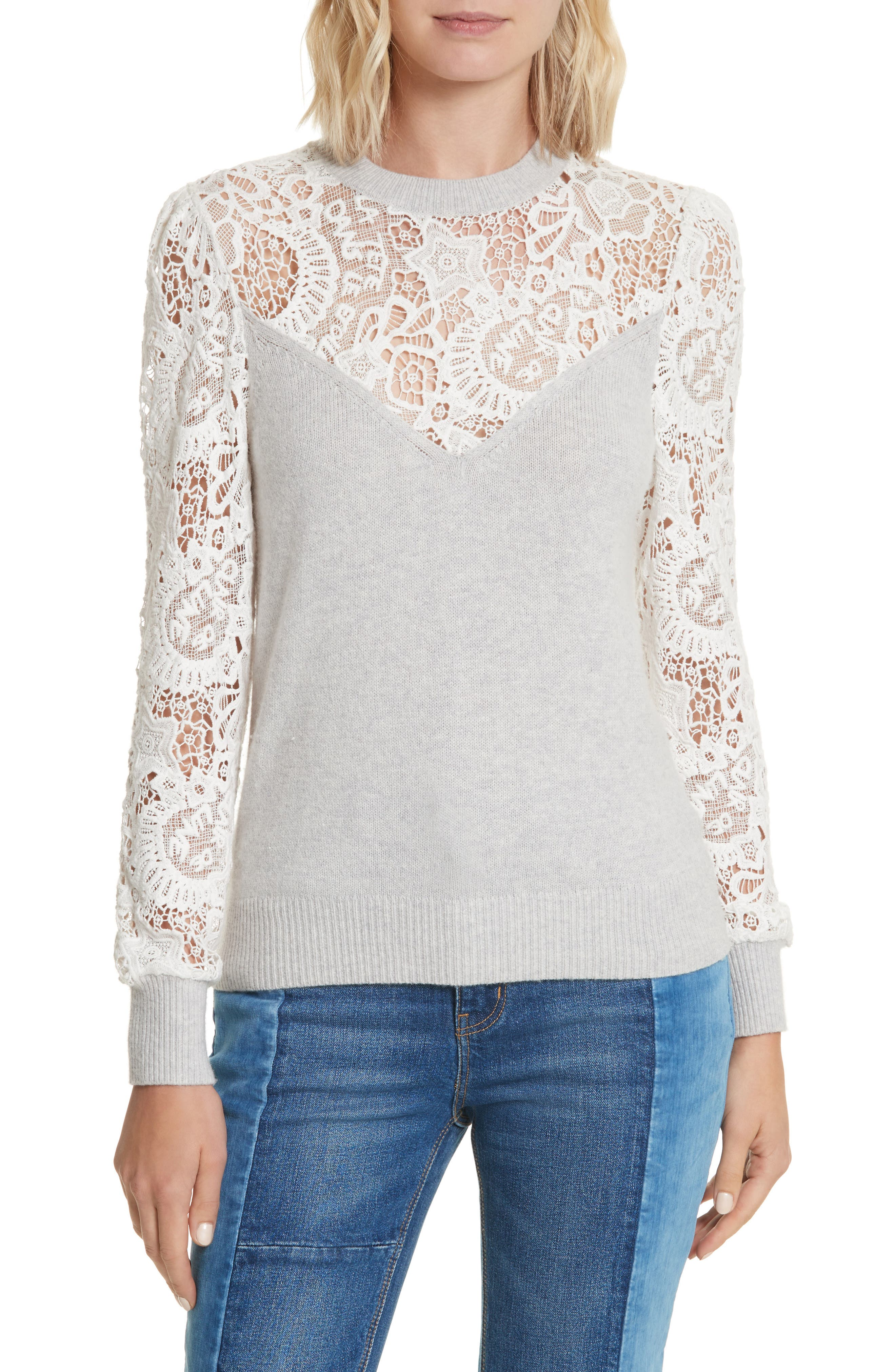 Lace Trim Knit Pullover,                         Main,                         color, Light Grey Heather/ Snow