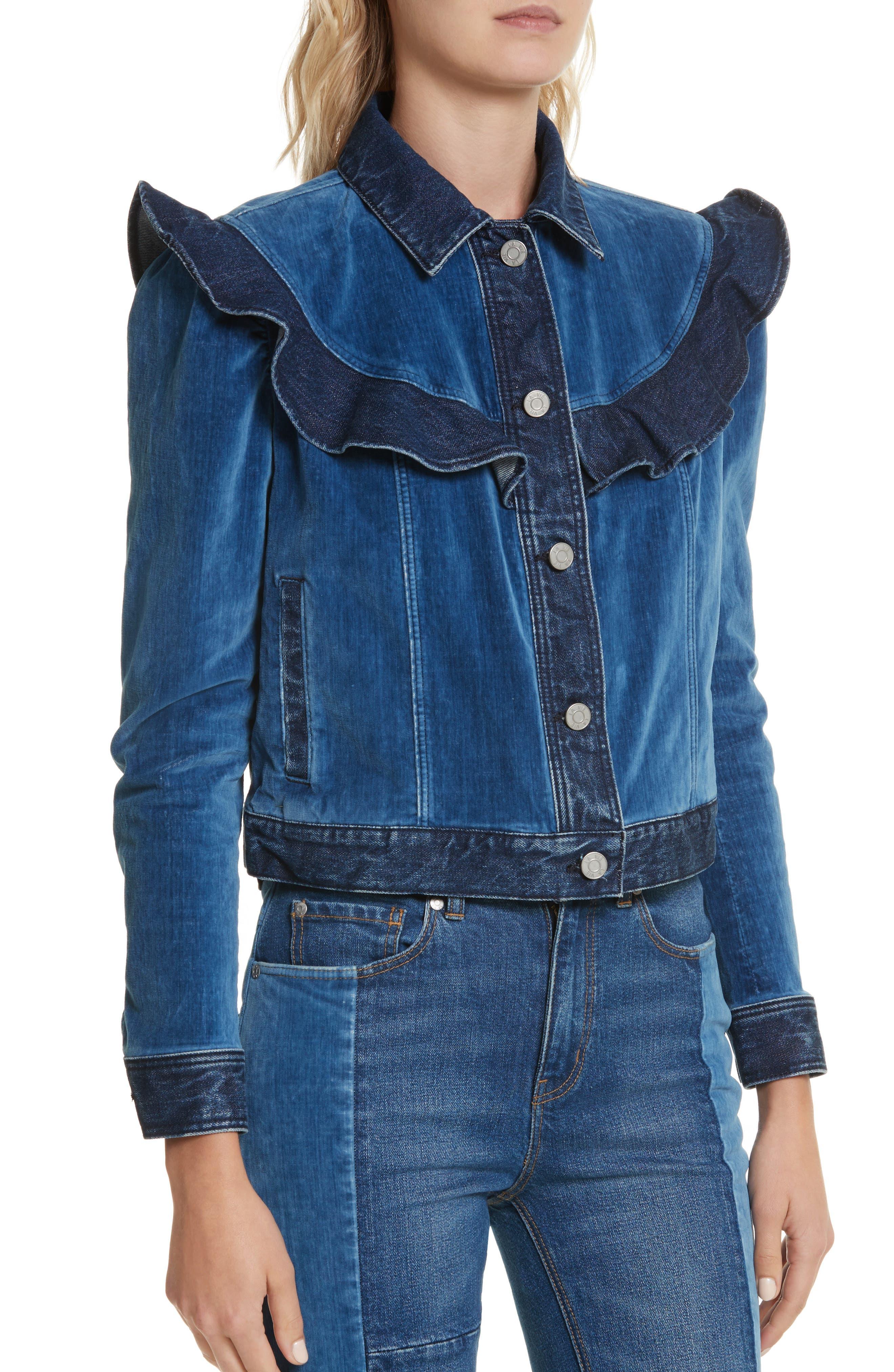 Velvet Denim Jacket,                             Alternate thumbnail 4, color,                             Dark Blueprint Patch Wash