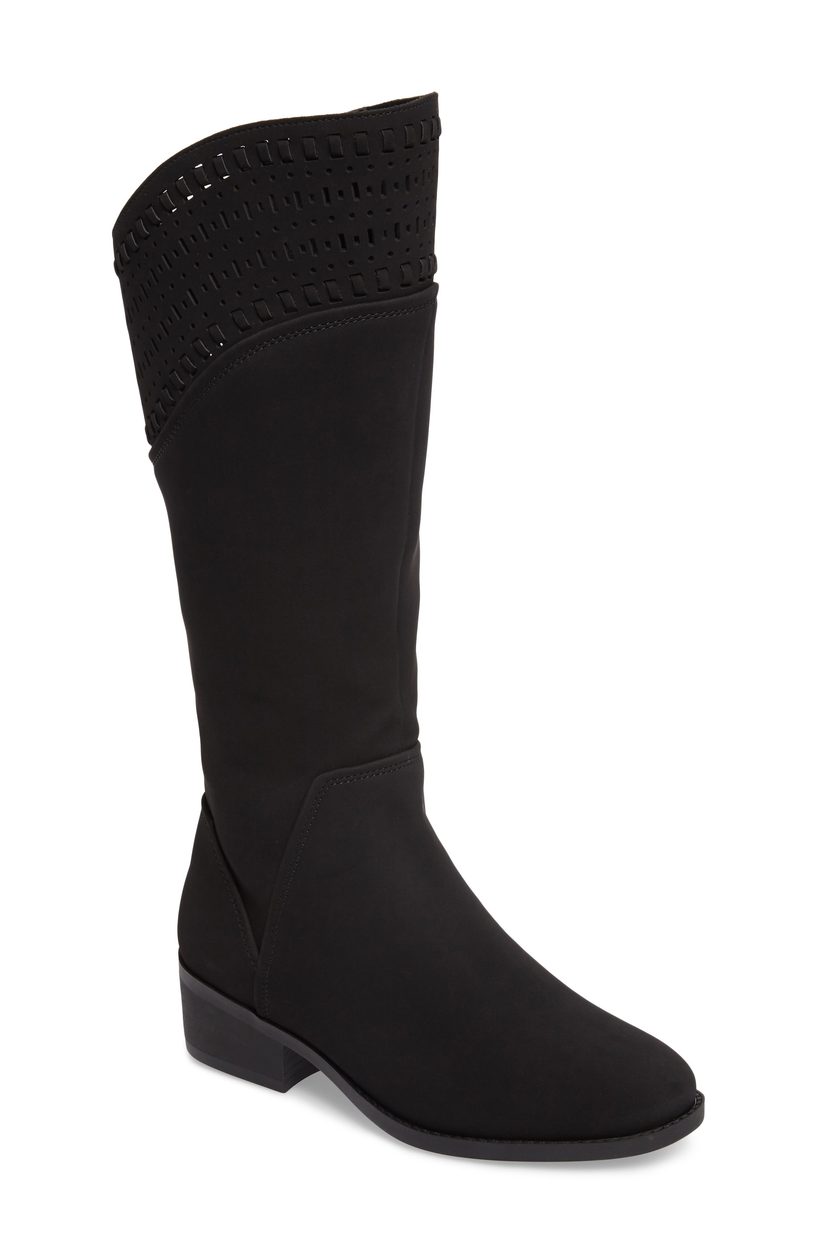 Blysse Woven Tall Boot,                         Main,                         color, Black Suede