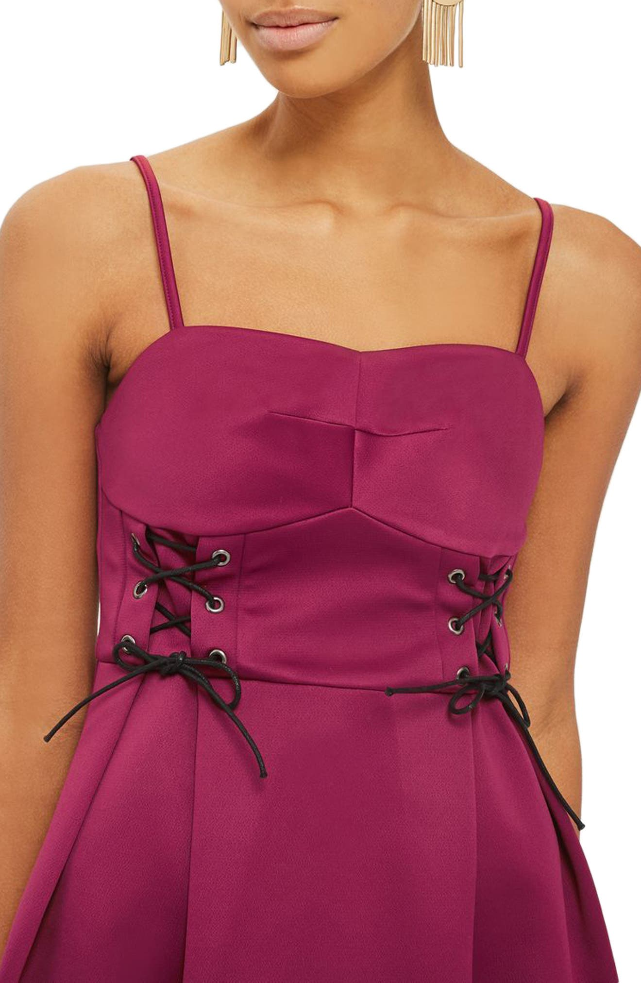 Corset Waist Bustier Minidress,                             Alternate thumbnail 3, color,                             Burgundy