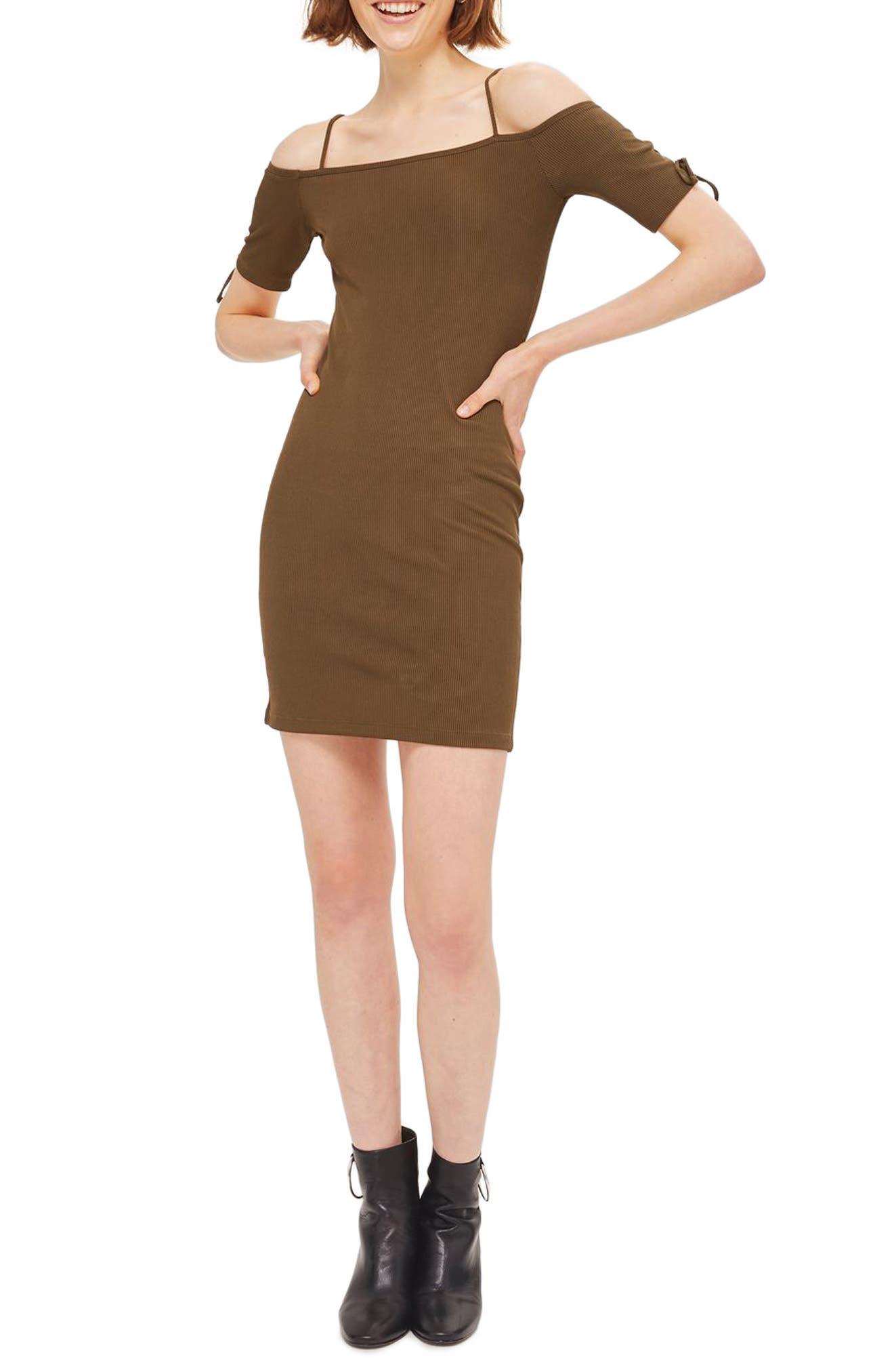 Lace-Up Sleeve Off the Shoulder Dress,                         Main,                         color, Olive