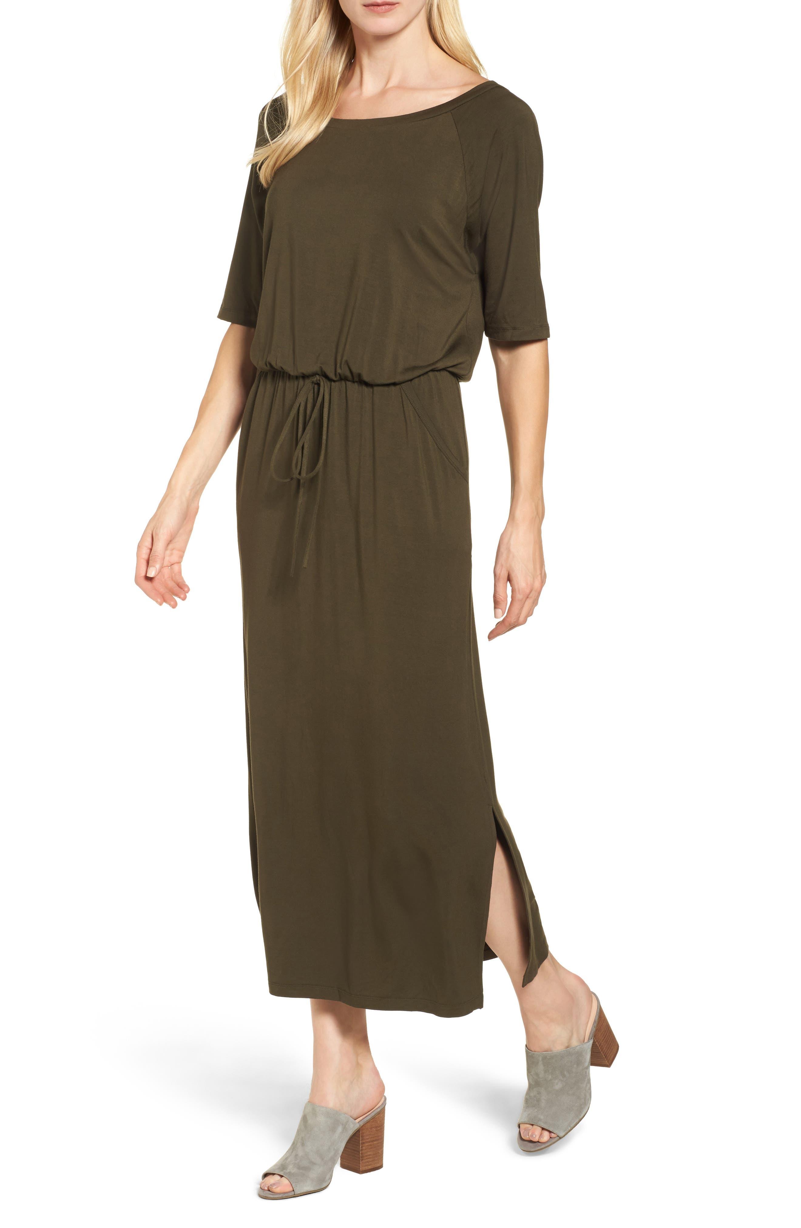 Caslon® Tie Waist Maxi Dress (Regular & Petite)