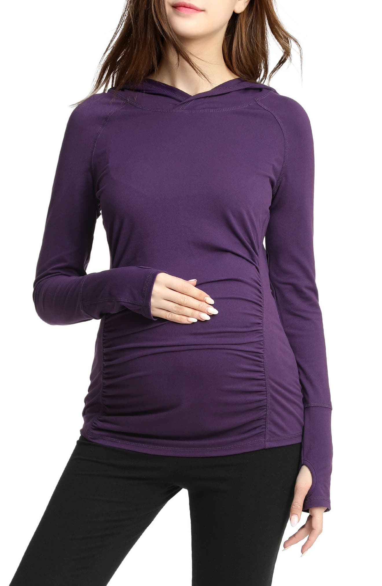 Kimi & Kai Kelly Ruched Maternity Hoodie,                             Main thumbnail 1, color,                             Purple