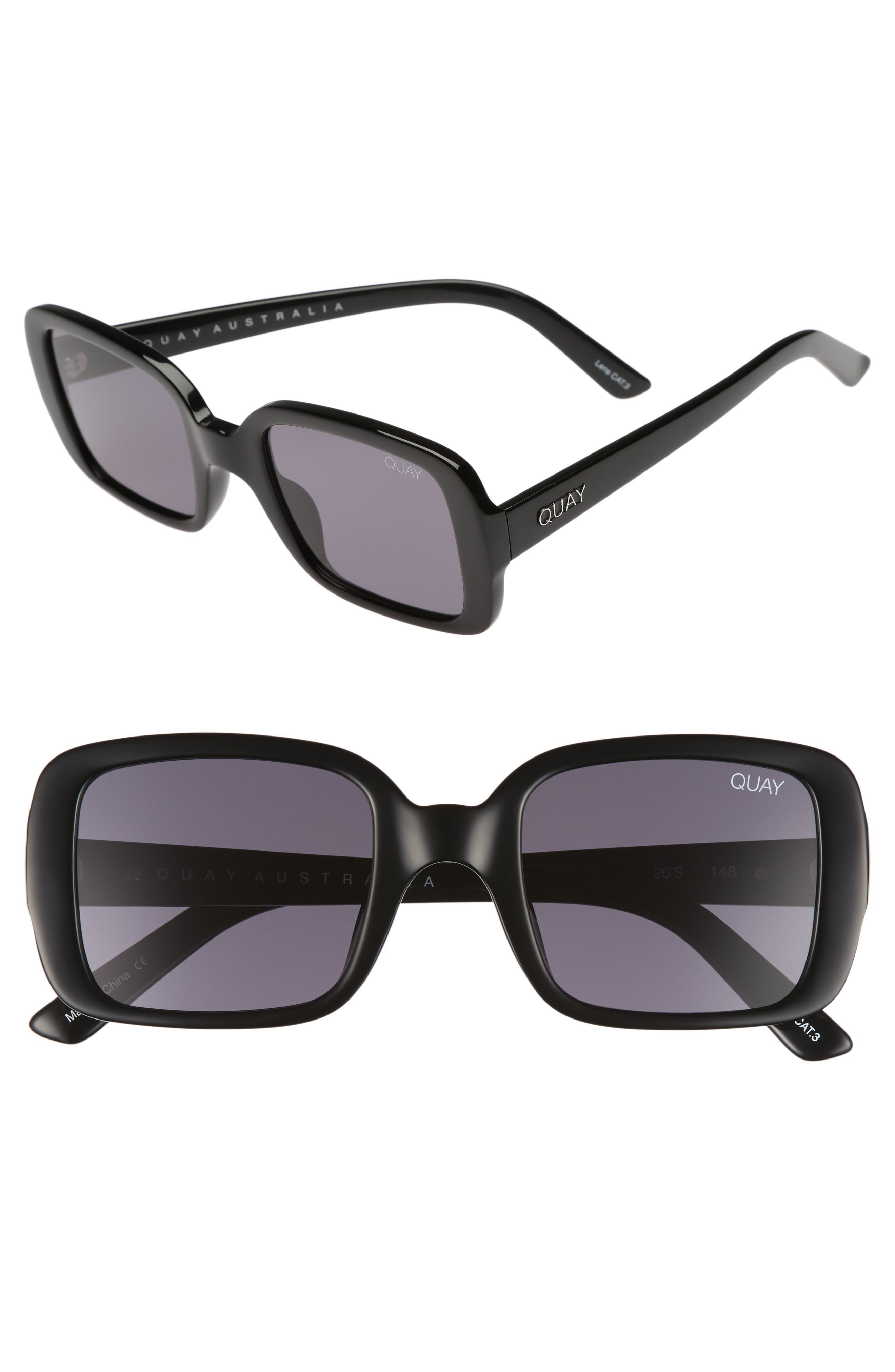 '20s 54mm Square Sunglasses,                             Main thumbnail 1, color,                             Black/ Smoke