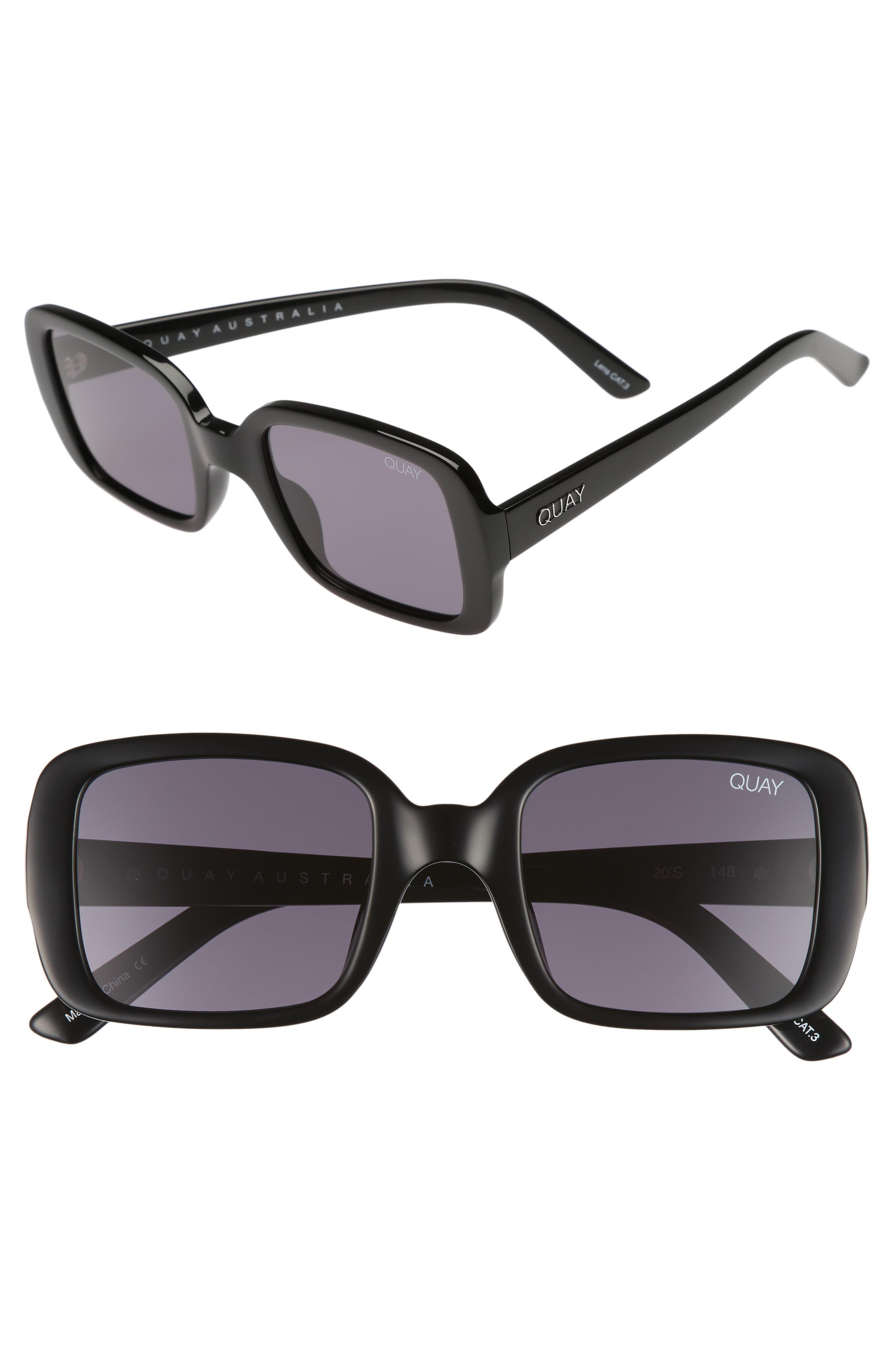 '20s 54mm Square Sunglasses,                         Main,                         color, Black/ Smoke