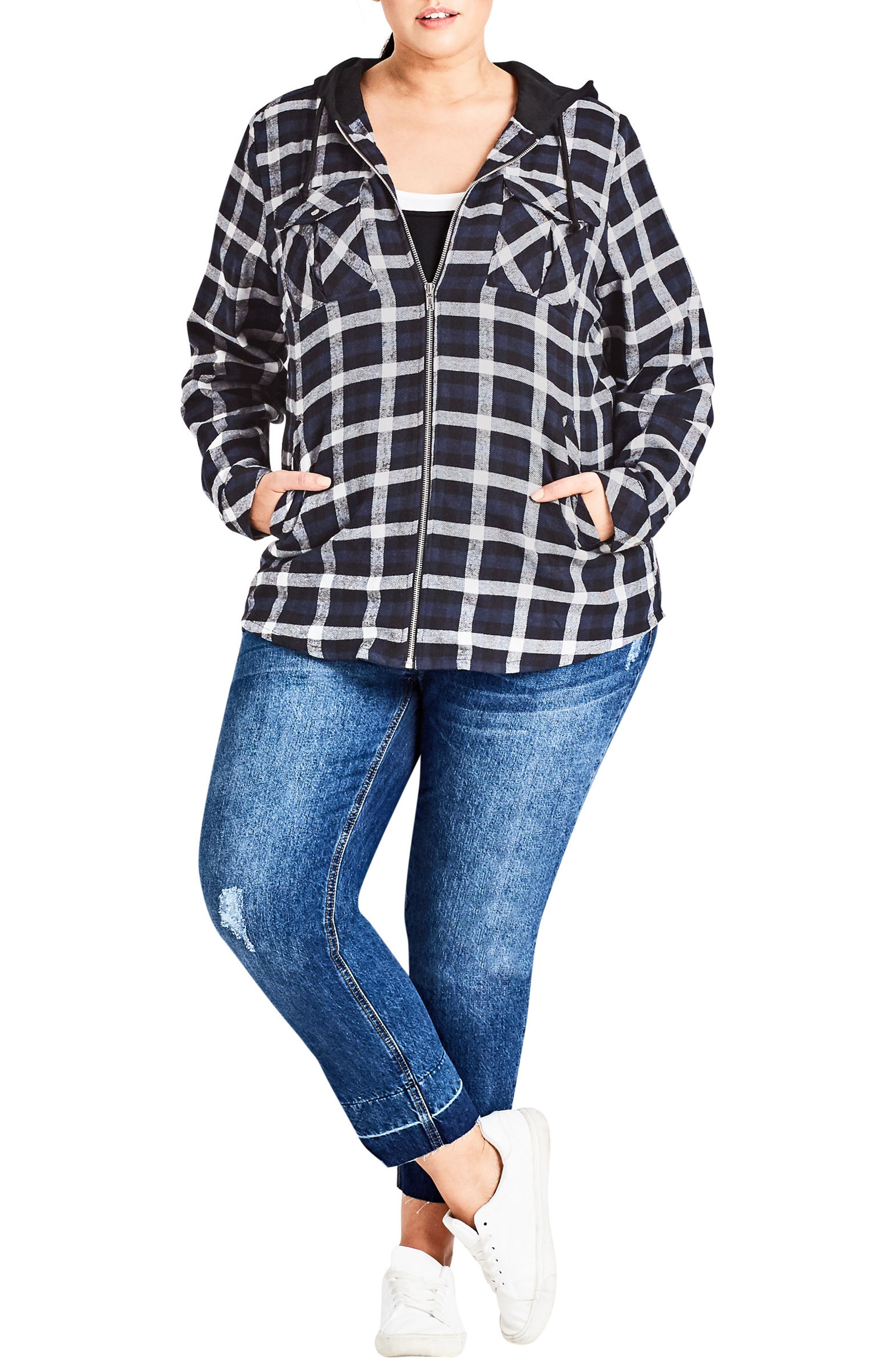 Check It Out Hooded Jacket,                         Main,                         color, Navy Check