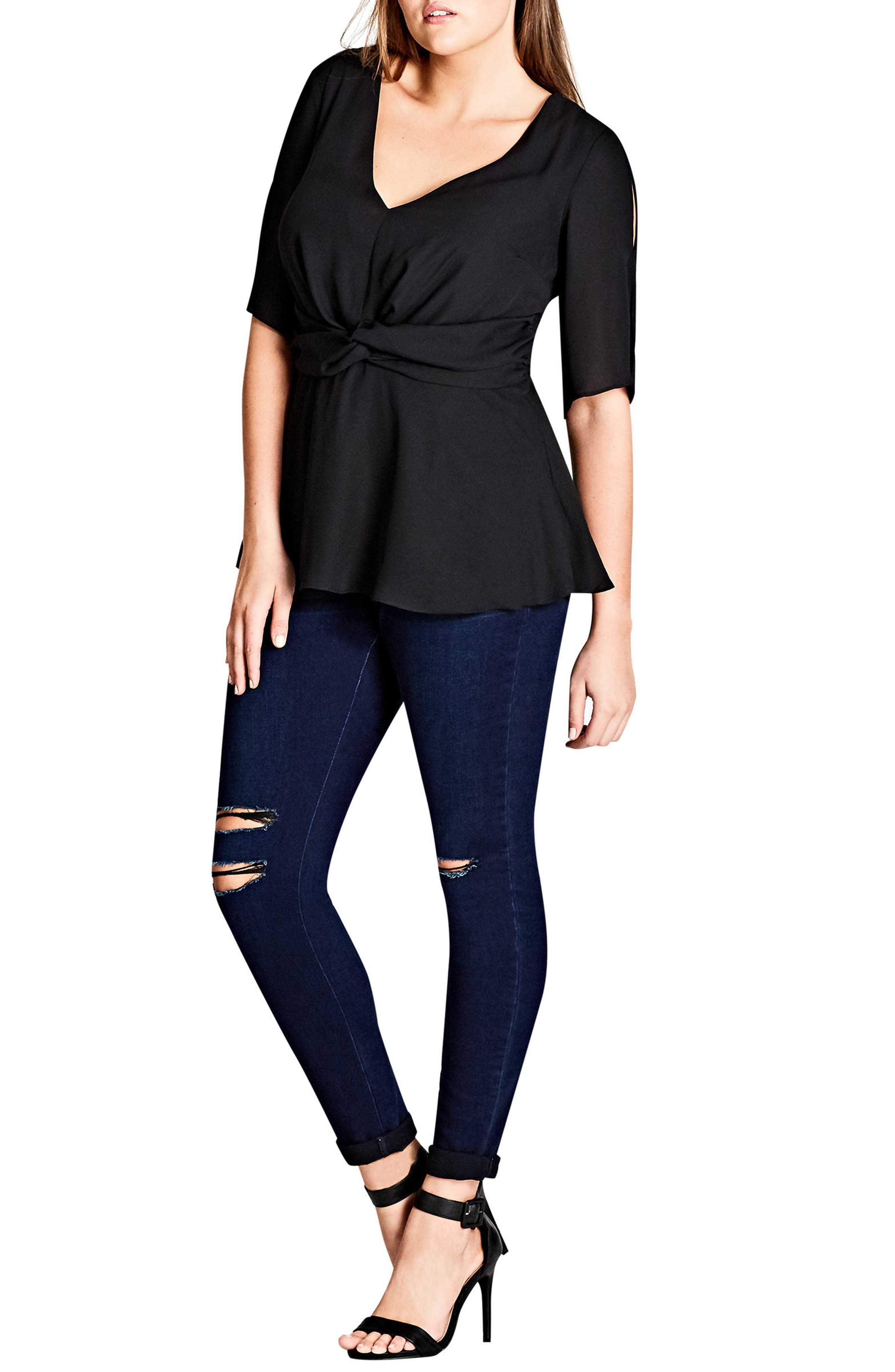 Alternate Image 1 Selected - City Chic Front Twist Top (Plus Size)