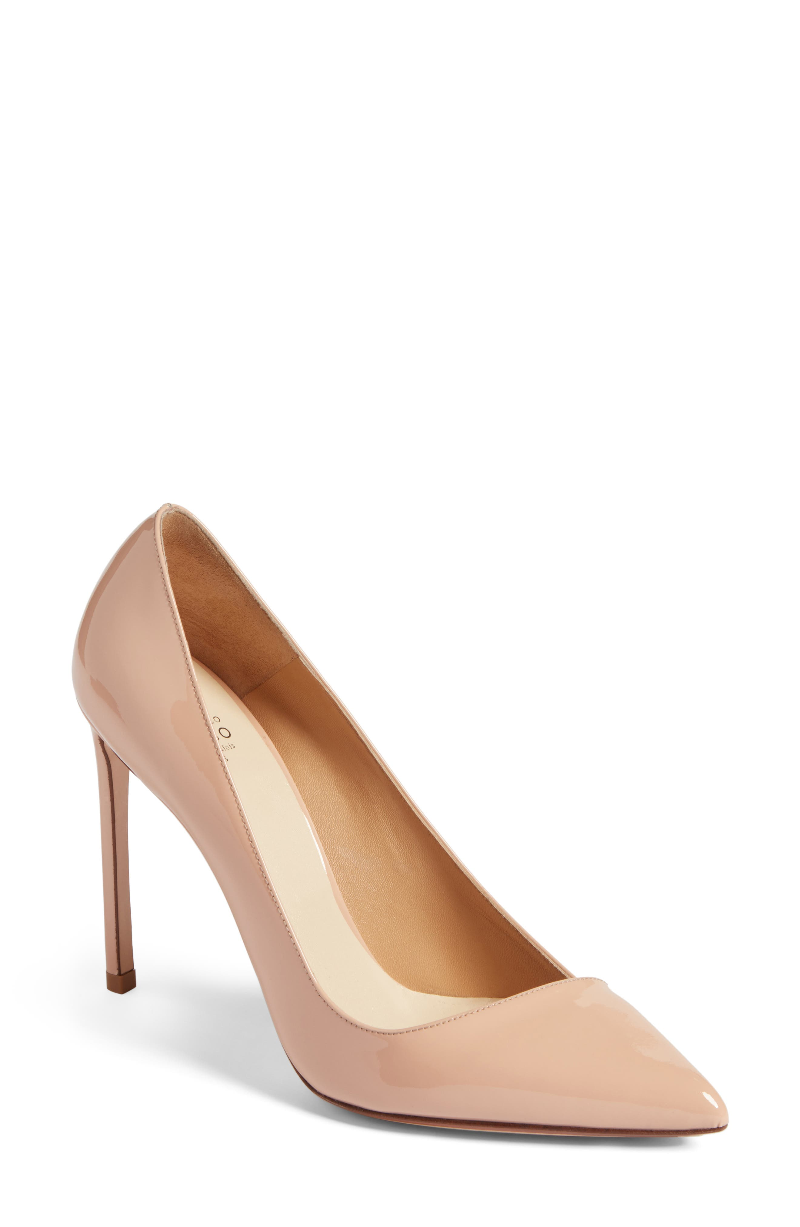Pointy Toe Pump,                         Main,                         color, Beige Leather
