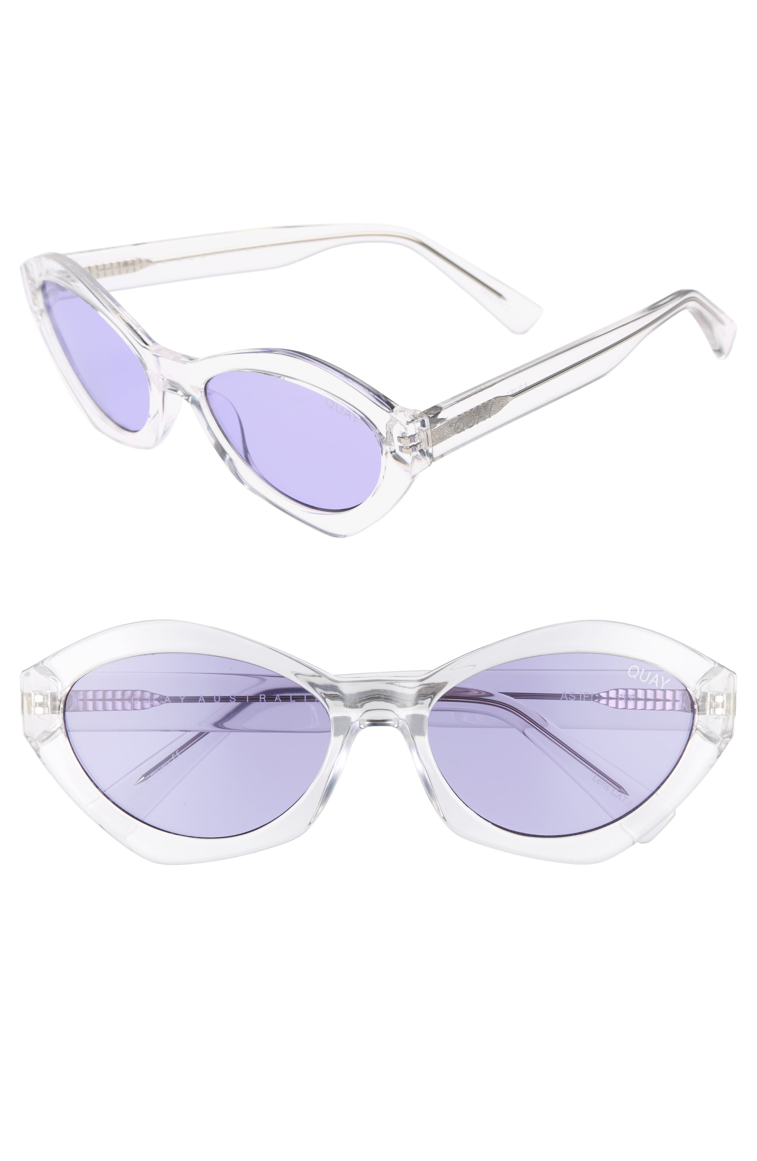 54mm As If Oval Sunglasses,                             Main thumbnail 1, color,                             Clear/ Purple