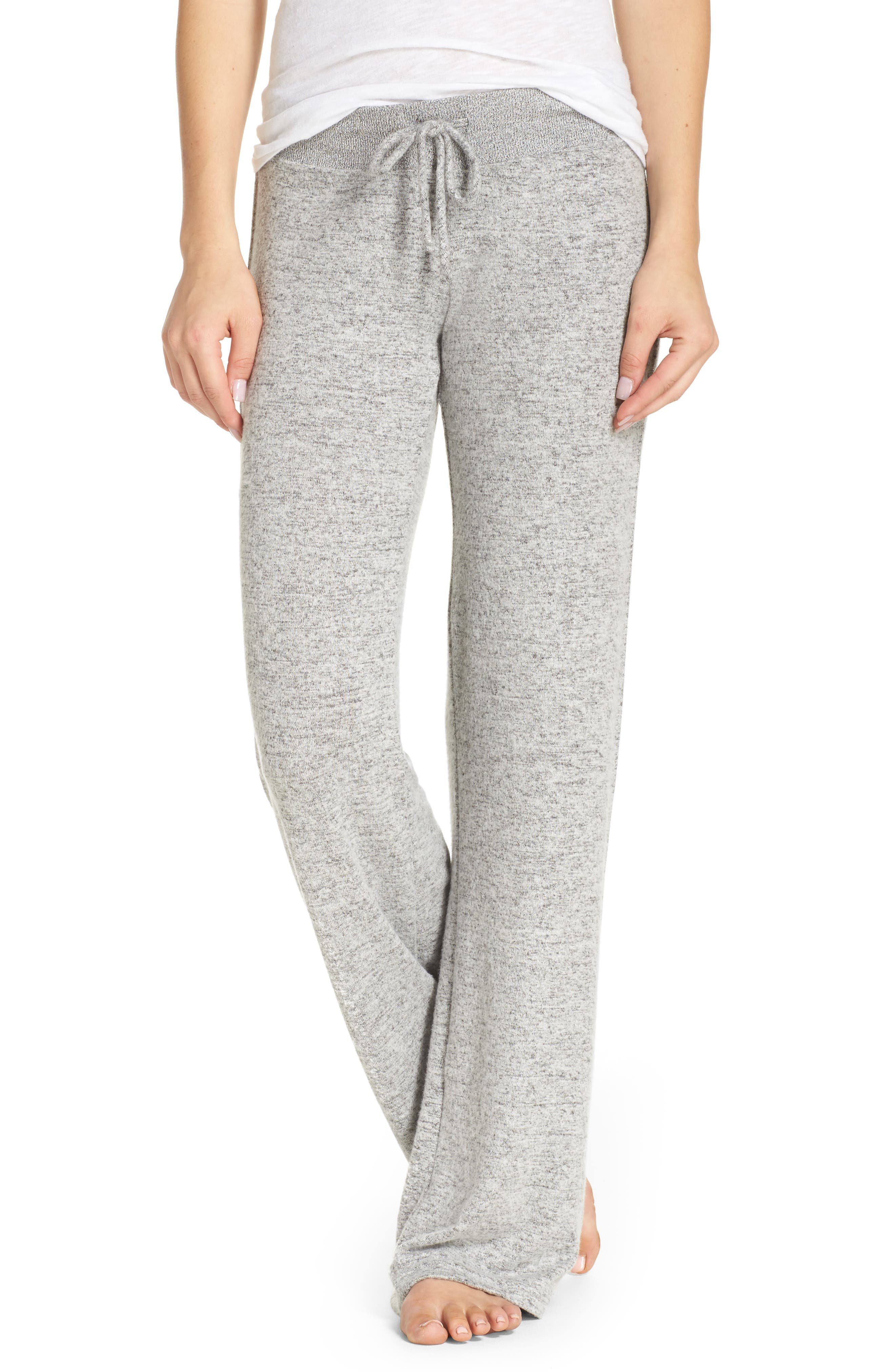 Best Boyfriend Brushed Hacci Lounge Pants,                             Main thumbnail 1, color,                             Grey Flannel Marl