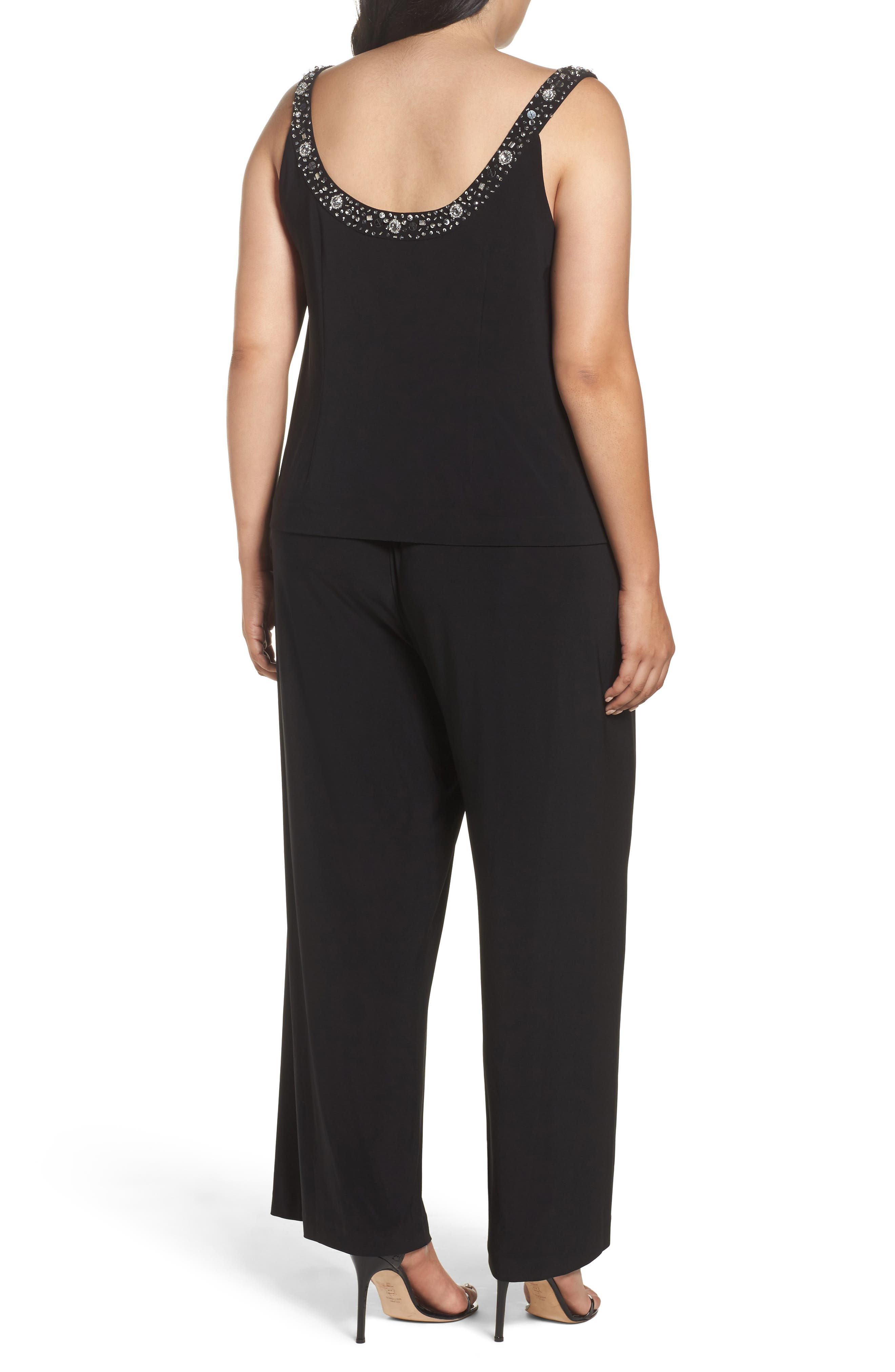 Embellished Three-Piece Pant Suit,                             Alternate thumbnail 2, color,                             Black
