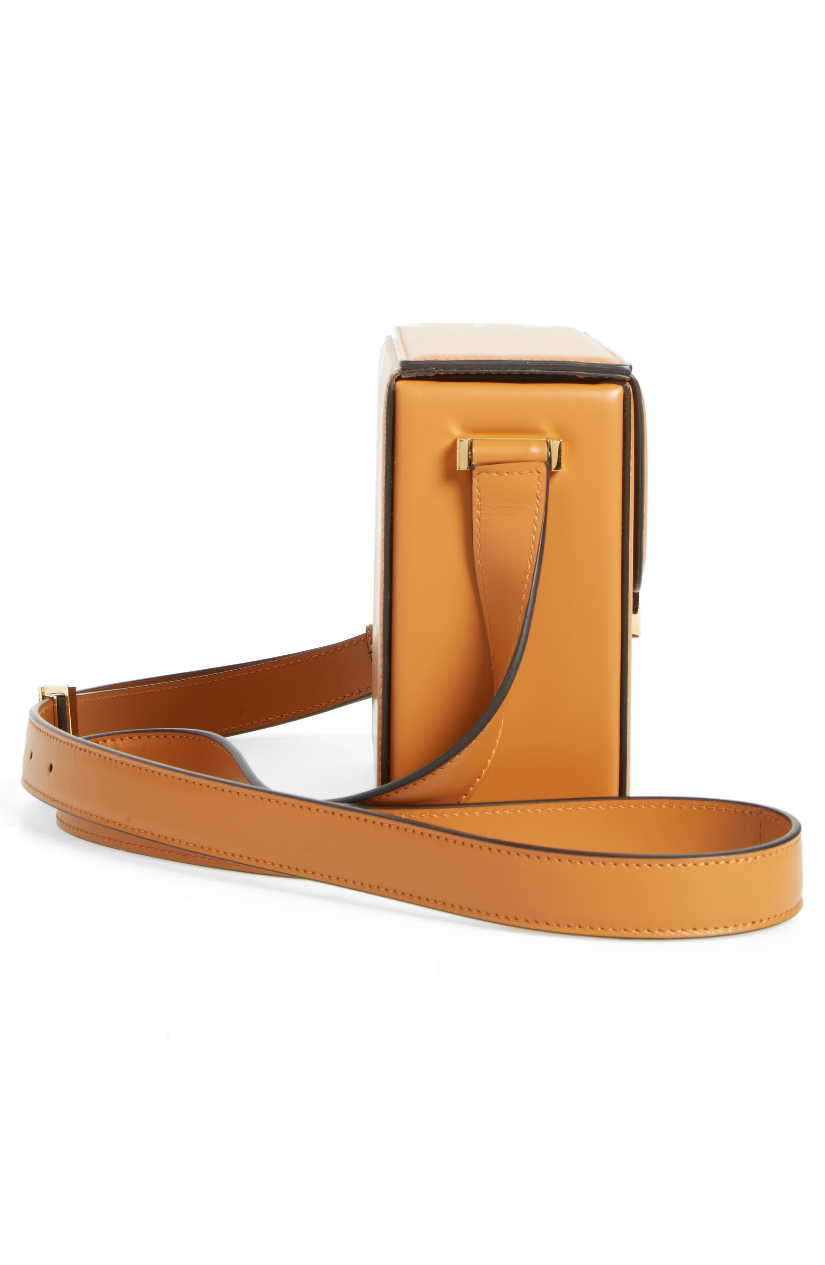 Vanity Calfskin Leather Box Bag,                             Alternate thumbnail 5, color,                             Mustard