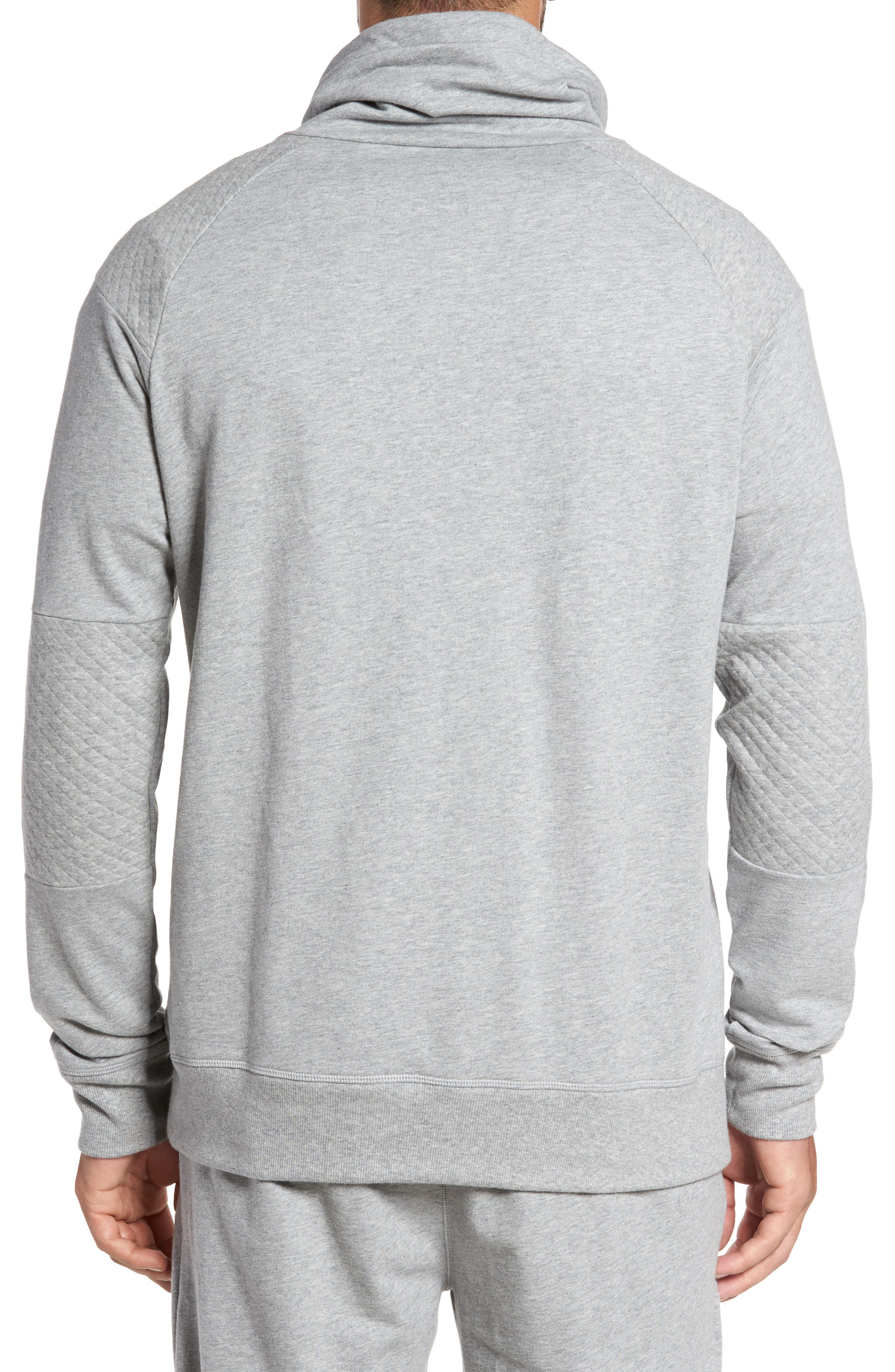 Quilted Funnel Neck Pullover,                             Alternate thumbnail 2, color,                             Grey Heather