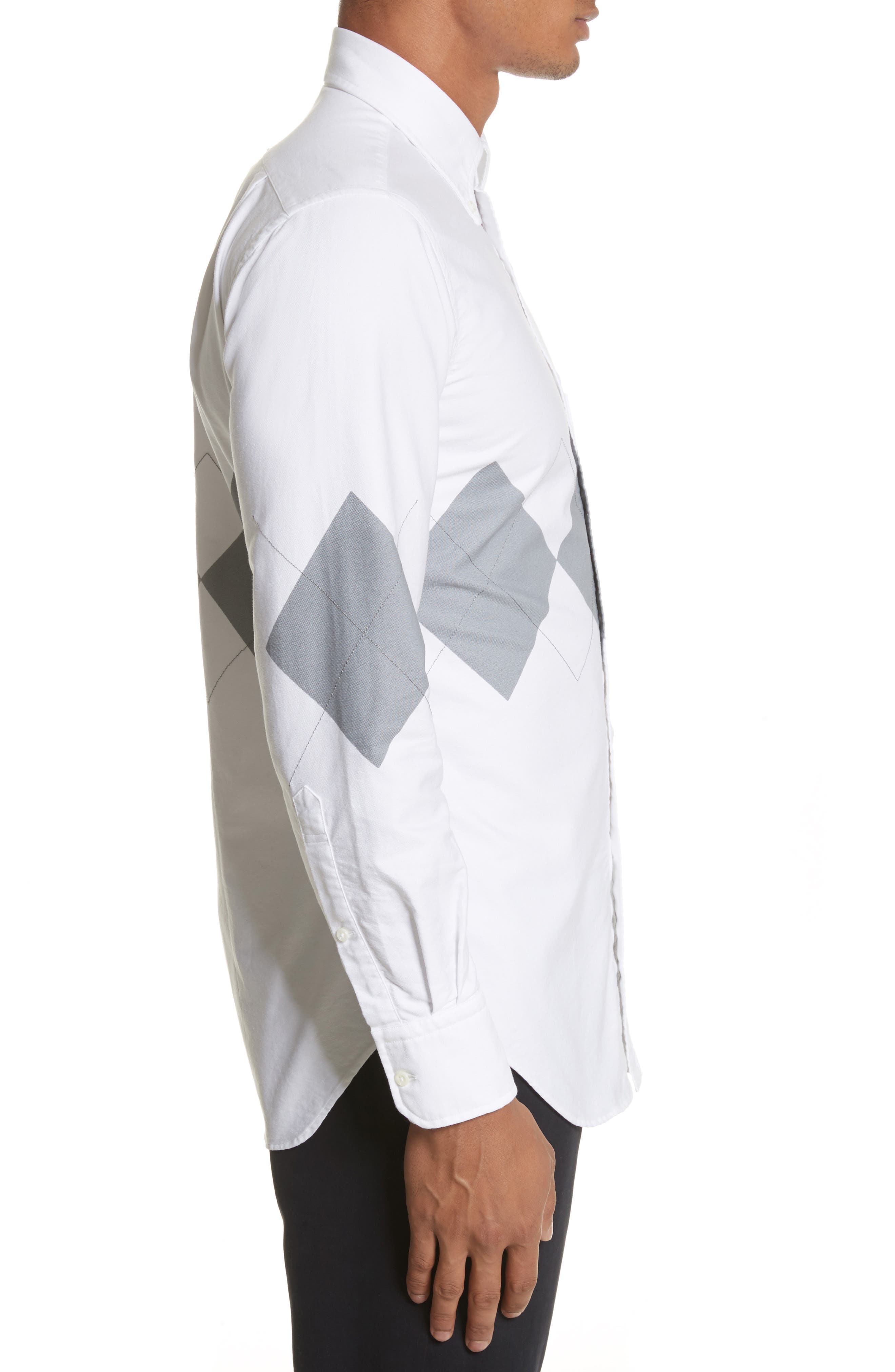 Argyle Print Woven Shirt,                             Alternate thumbnail 3, color,                             White