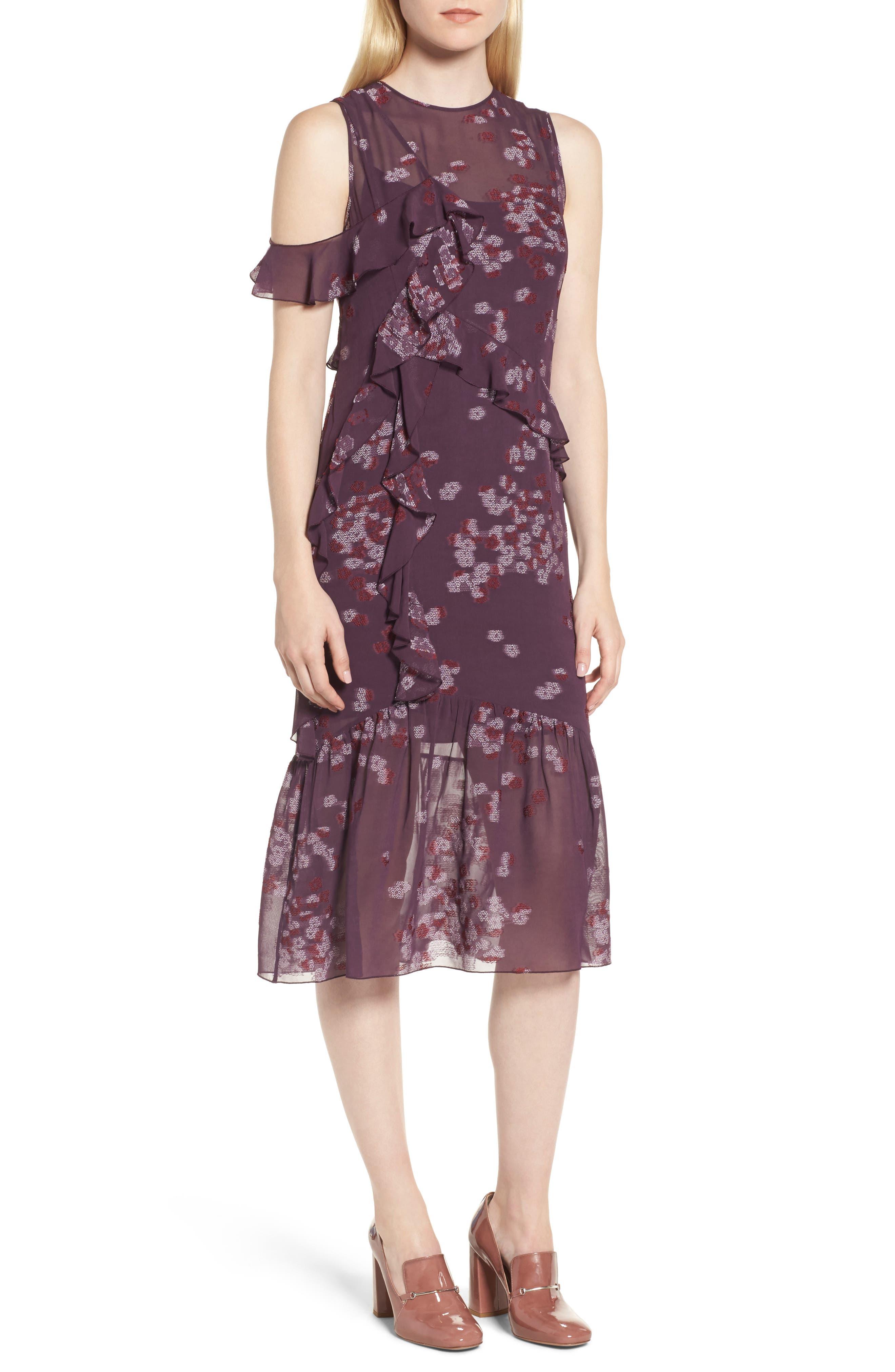 Jacquard Ruffle Dress,                             Main thumbnail 1, color,                             Purple Plum Scattered Floral