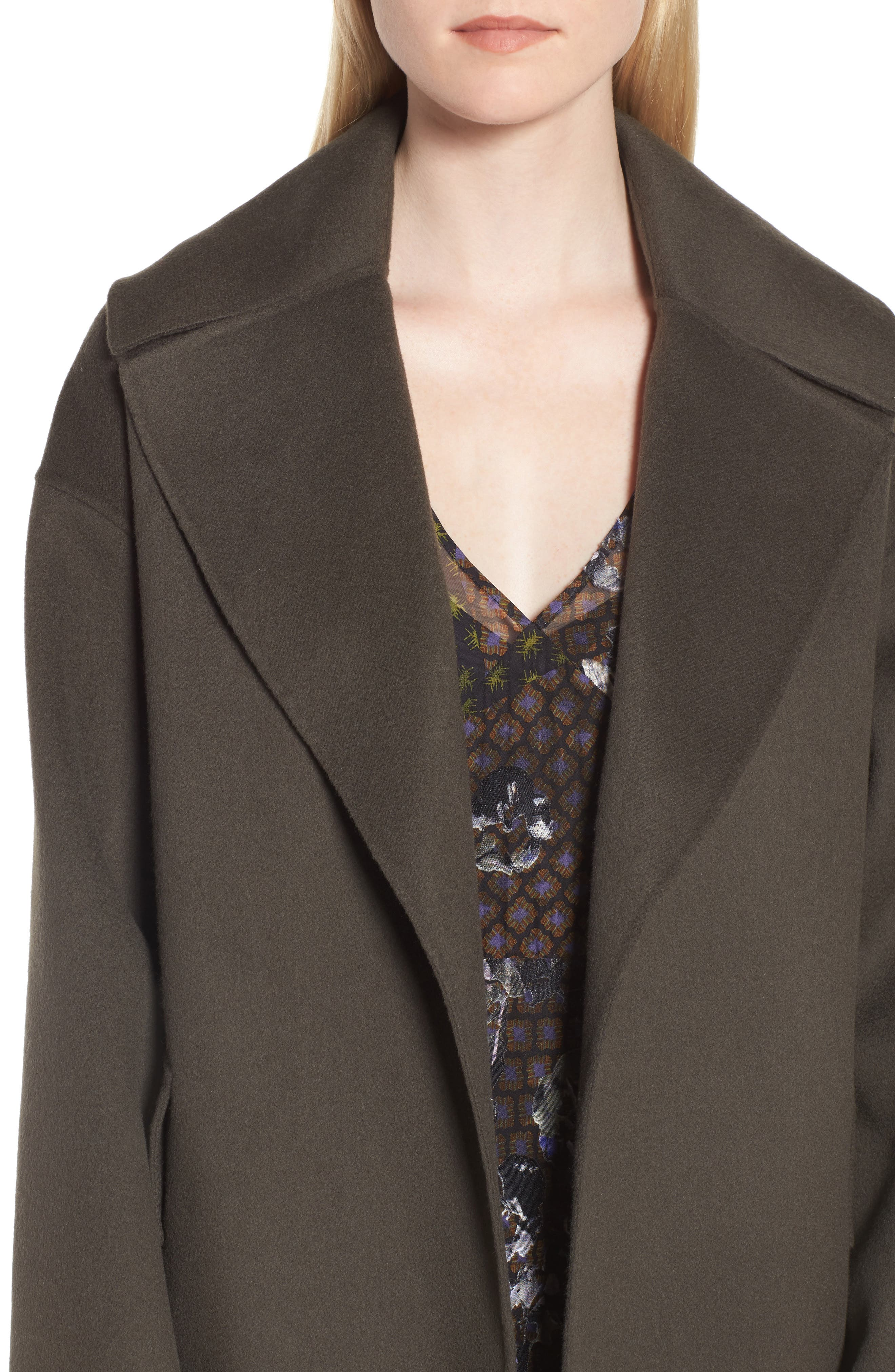Double-Face Wool & Cashmere Coat,                             Alternate thumbnail 5, color,                             Olive Tuscan