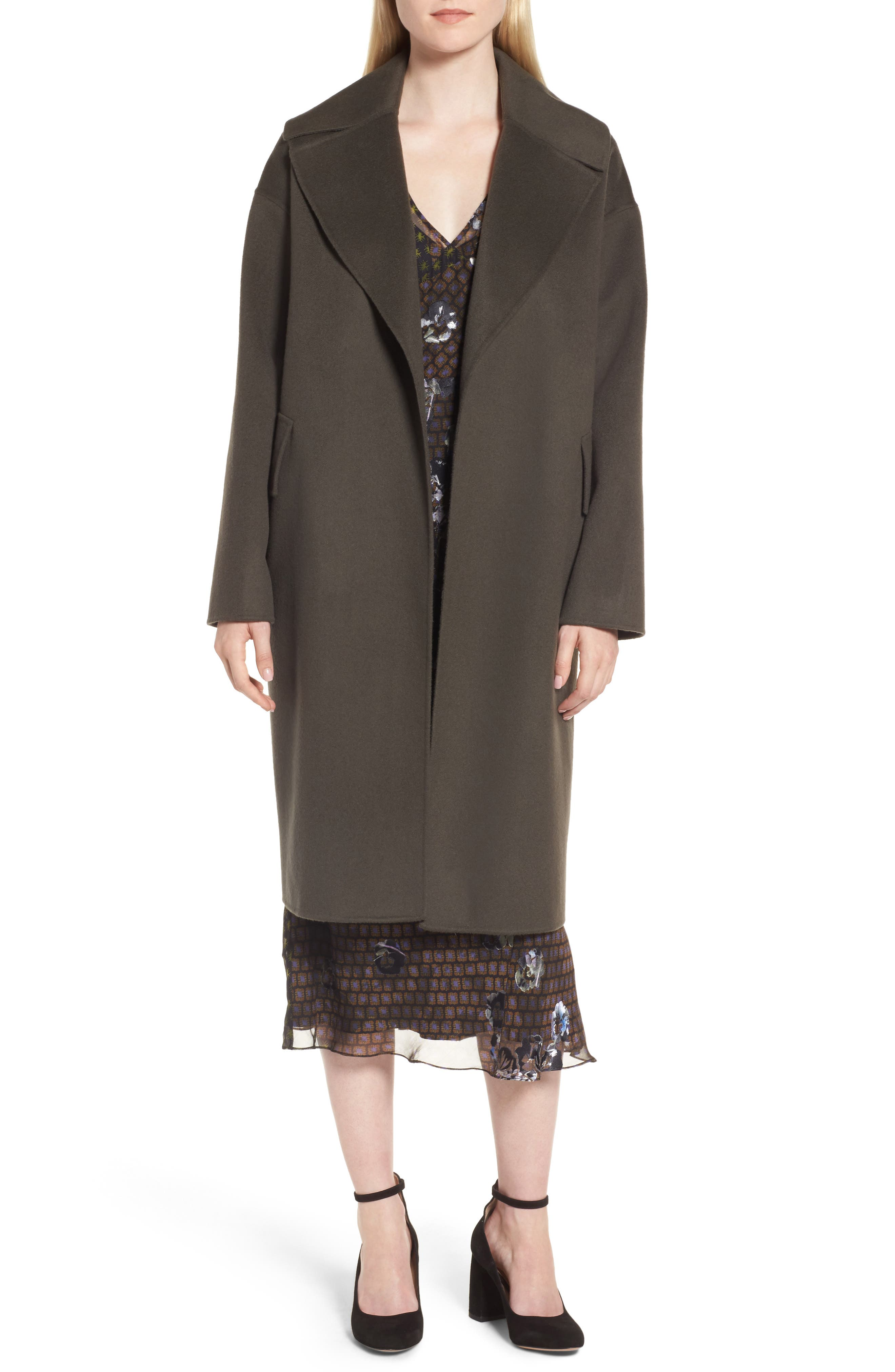 Double-Face Wool & Cashmere Coat,                         Main,                         color, Olive Tuscan