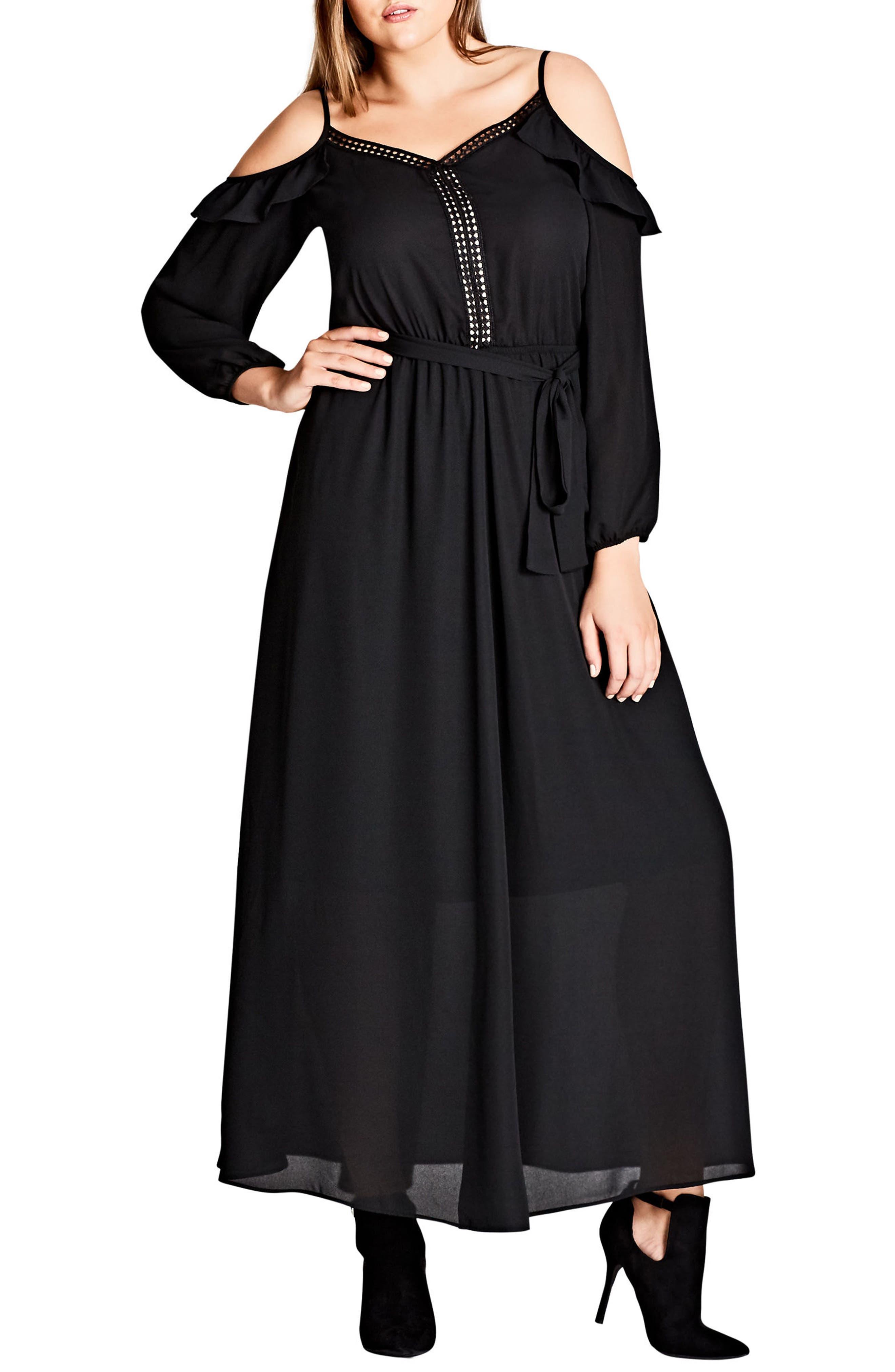 Flirty Cold Shoulder A-Line Maxi Dress,                             Main thumbnail 1, color,                             Black