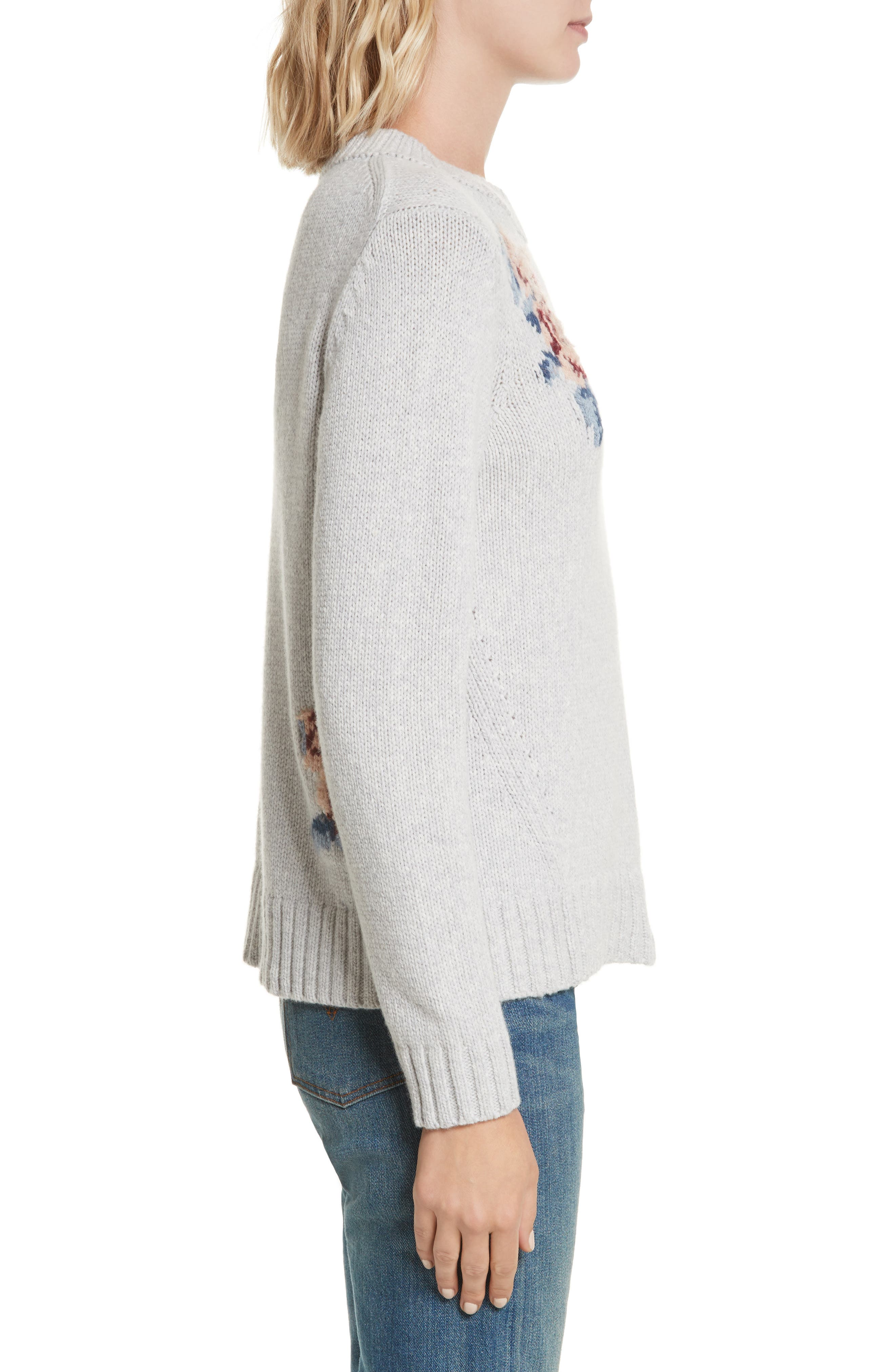 Floral Intarsia Pullover,                             Alternate thumbnail 3, color,                             Light Heather Grey Combo