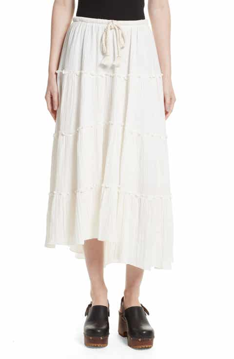See by Chloé Crinkled Cotton Midi Skirt Online Cheap
