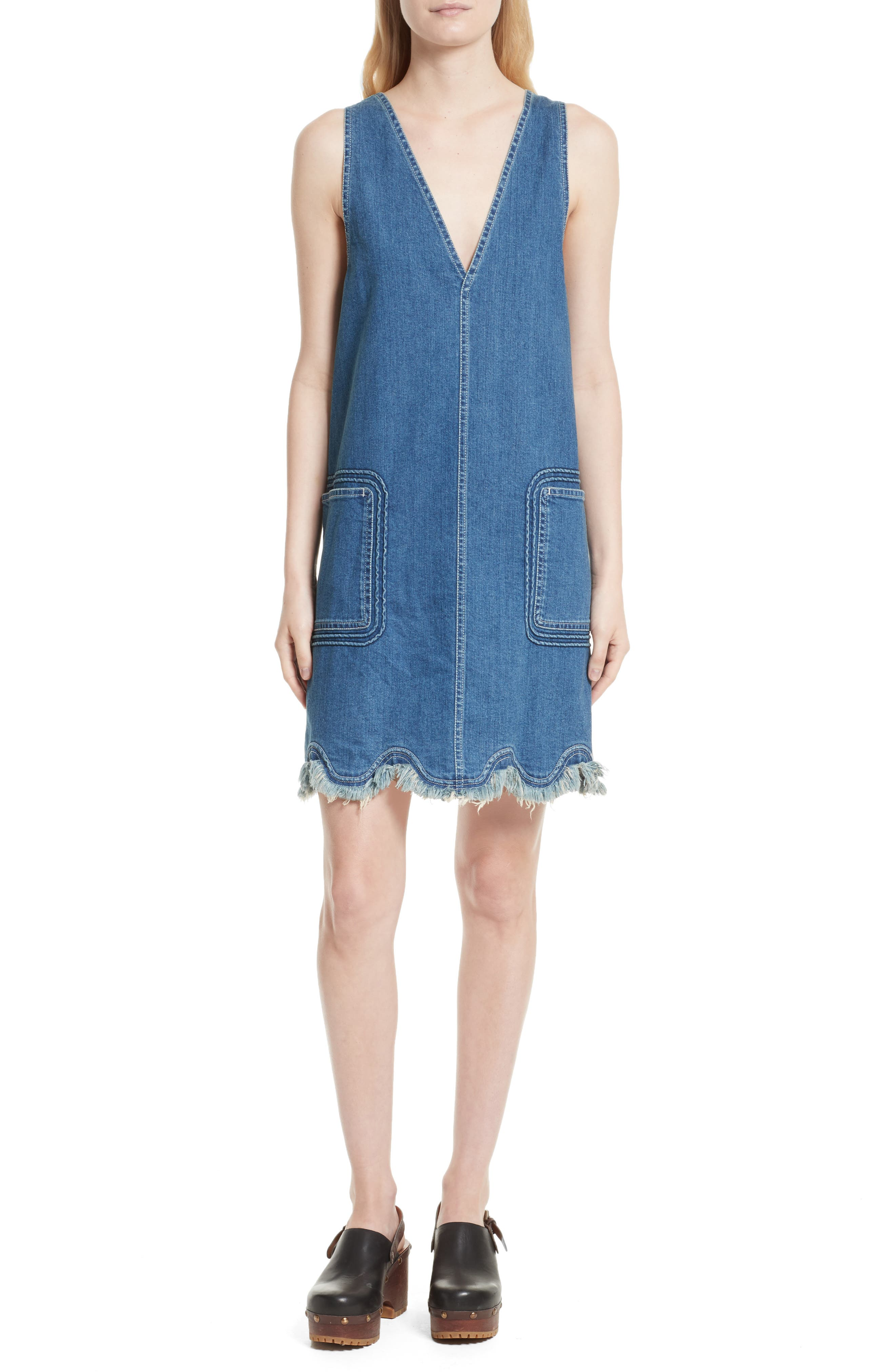 See by Chloé Scalloped Hem Denim Dress