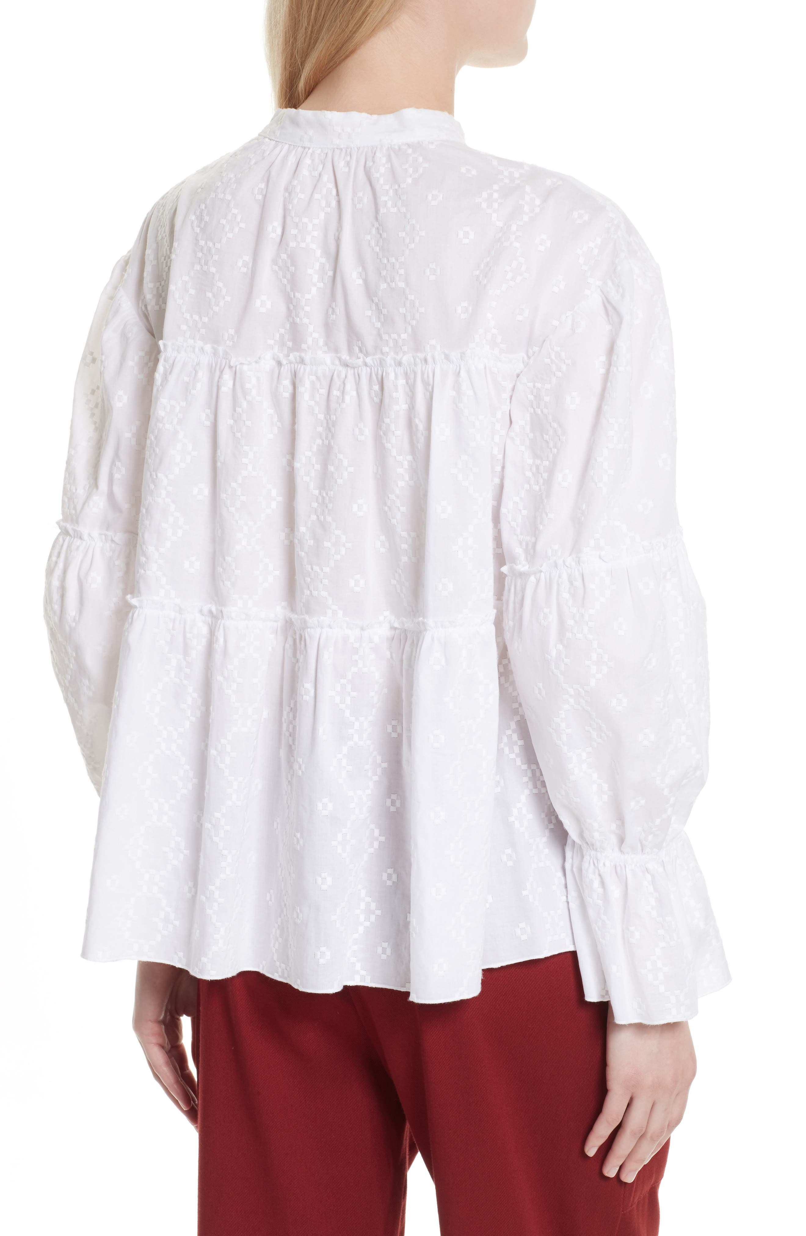 Embroidered Eyelet Blouse,                             Alternate thumbnail 2, color,                             White