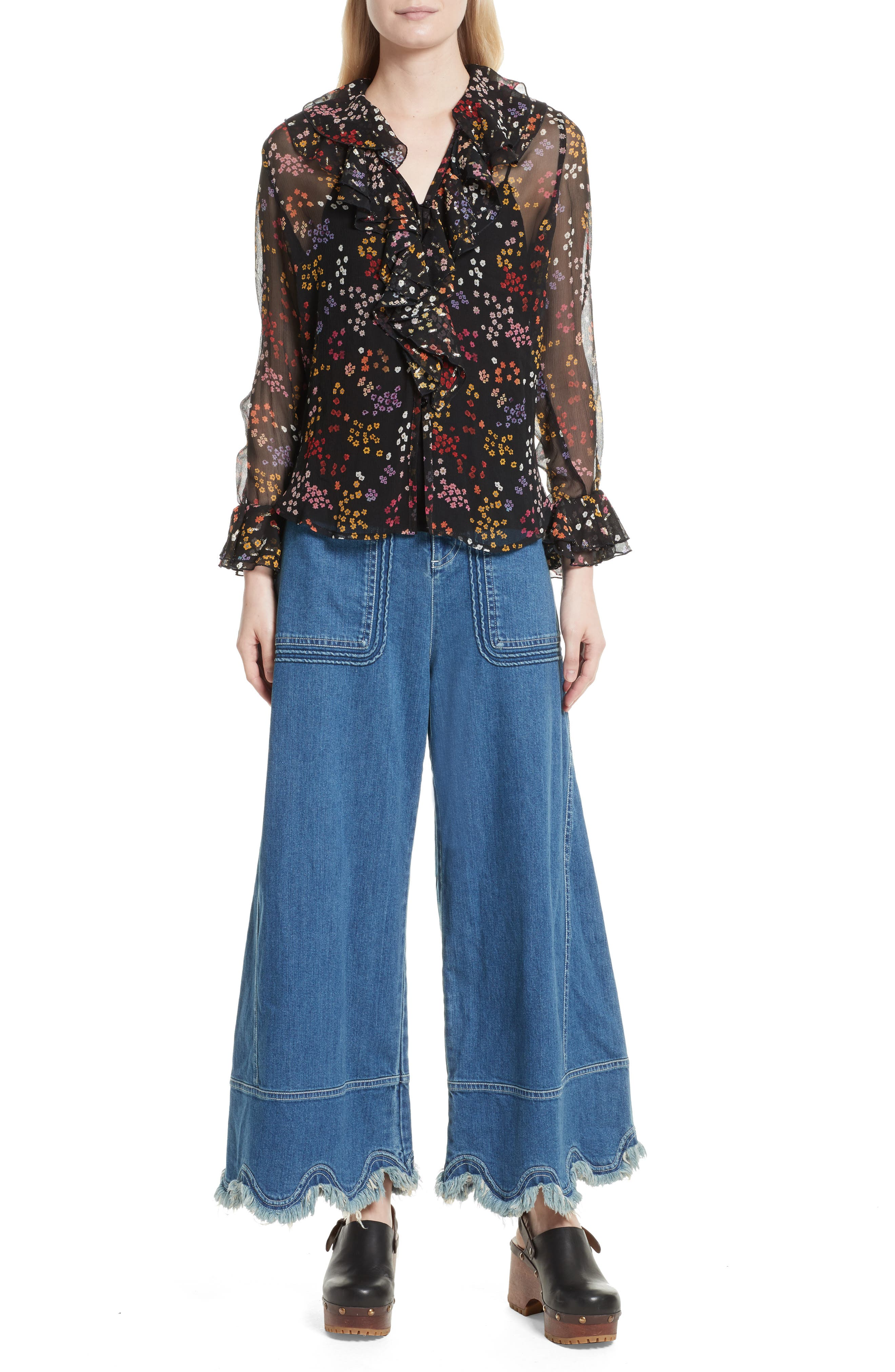 Alternate Image 6  - See by Chloé Floral Silk Blouse