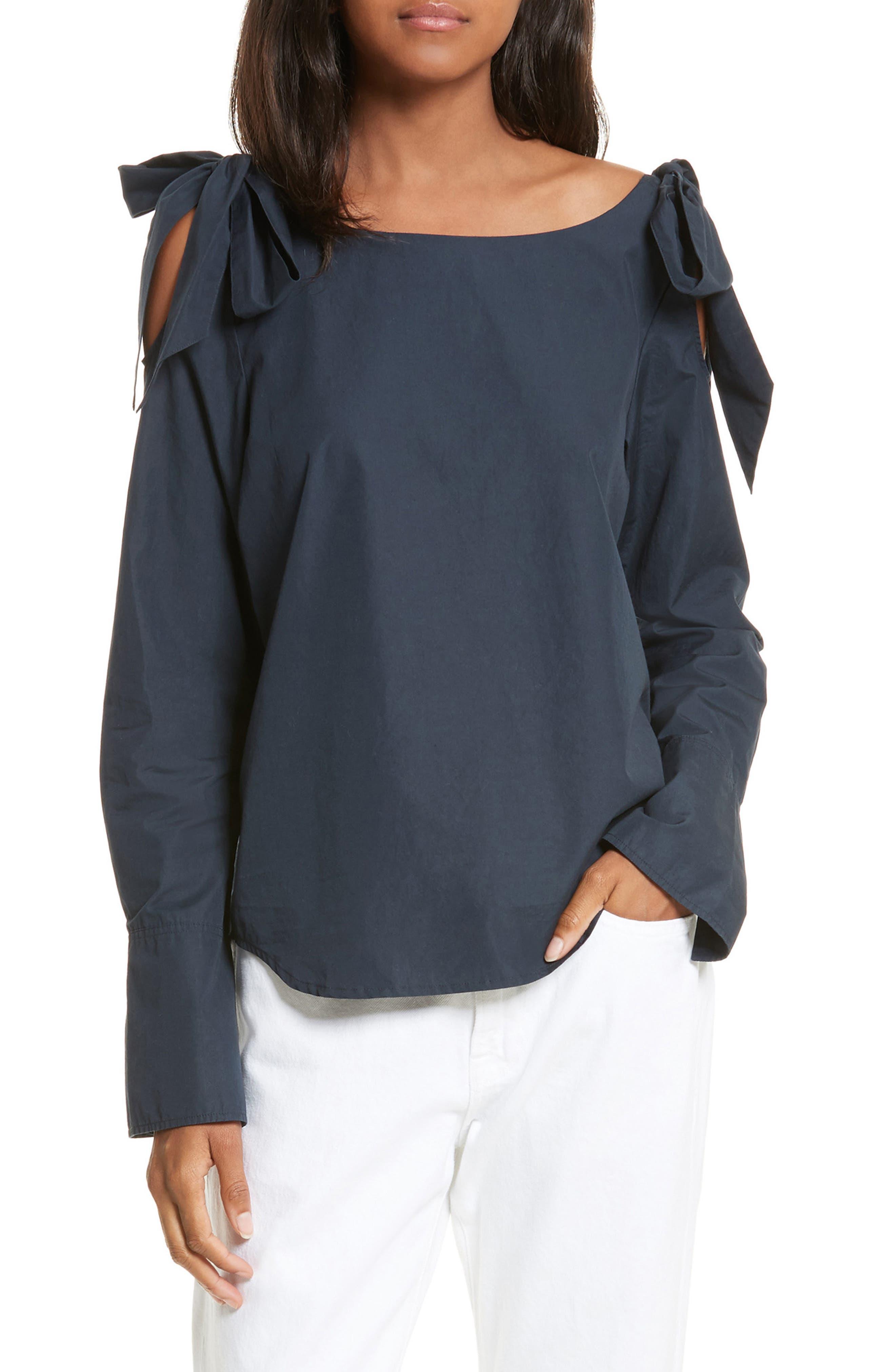Bow Cold Shoulder Cotton Blouse,                         Main,                         color, Navy