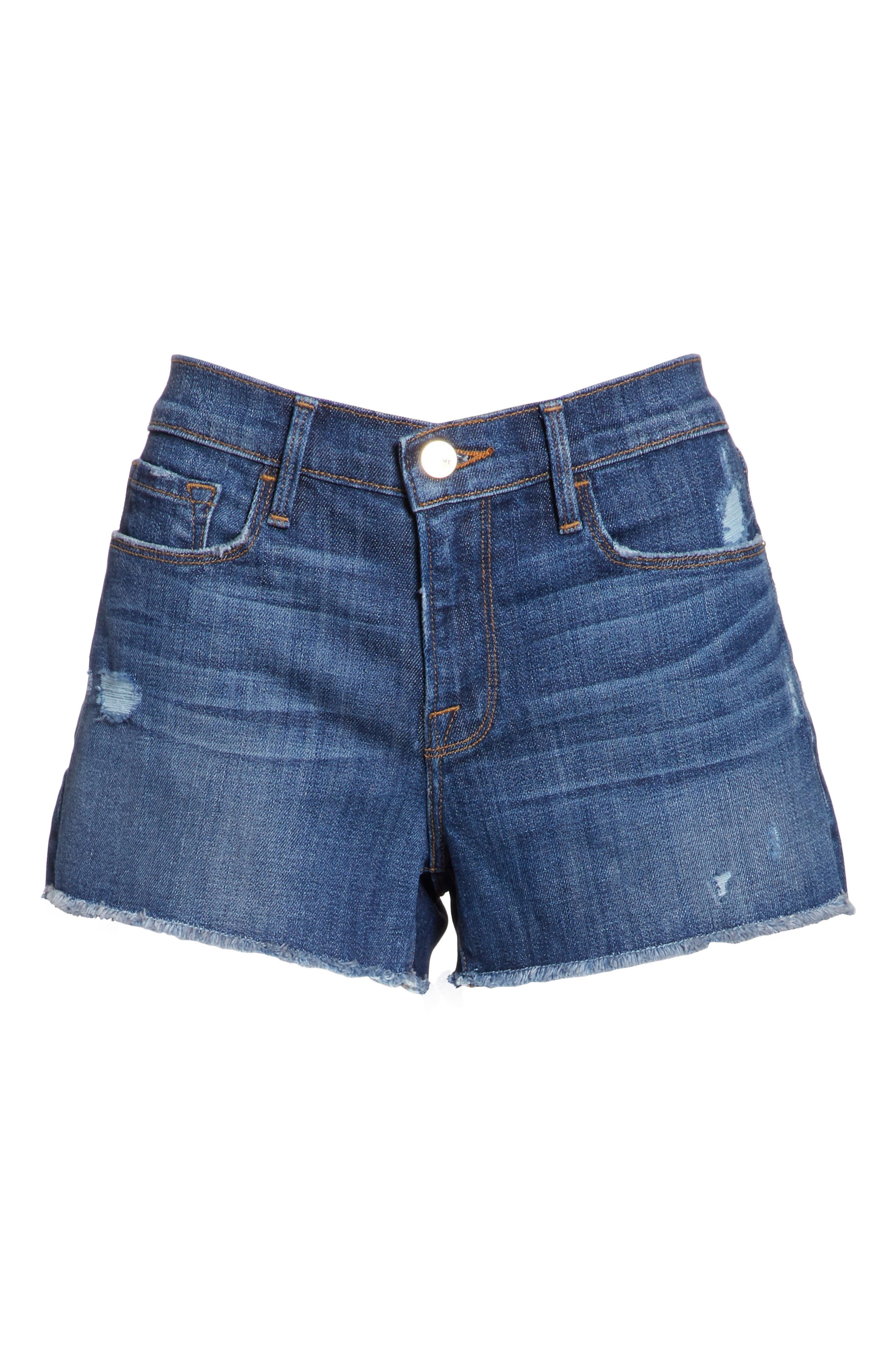 Le Cutoff Denim Shorts,                             Alternate thumbnail 7, color,                             Eckford