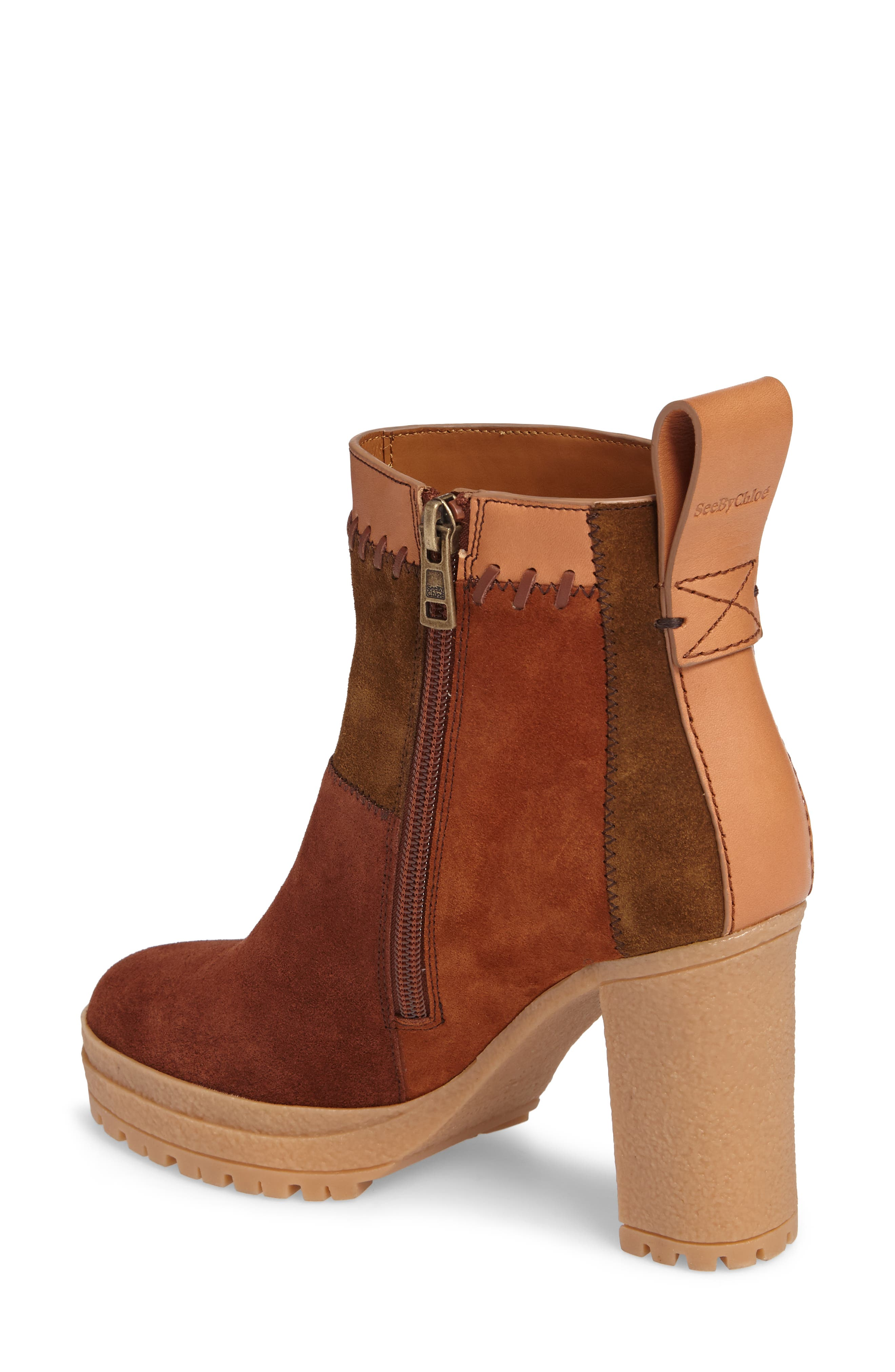 Polina Patchwork Bootie,                             Alternate thumbnail 2, color,                             Brown Multi