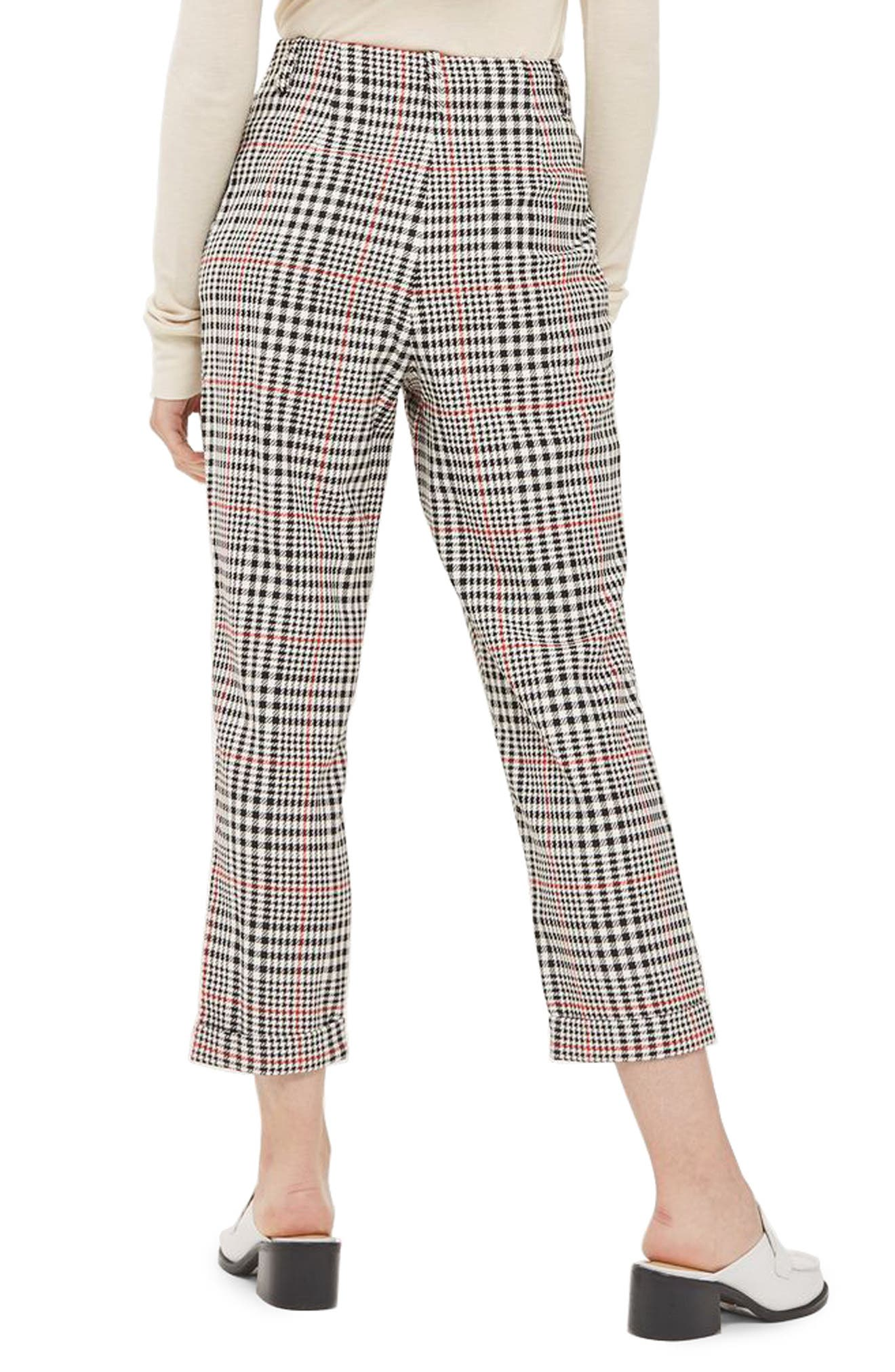 Red Pop Check High Waist Mensy Trousers,                             Alternate thumbnail 3, color,                             Black Multi