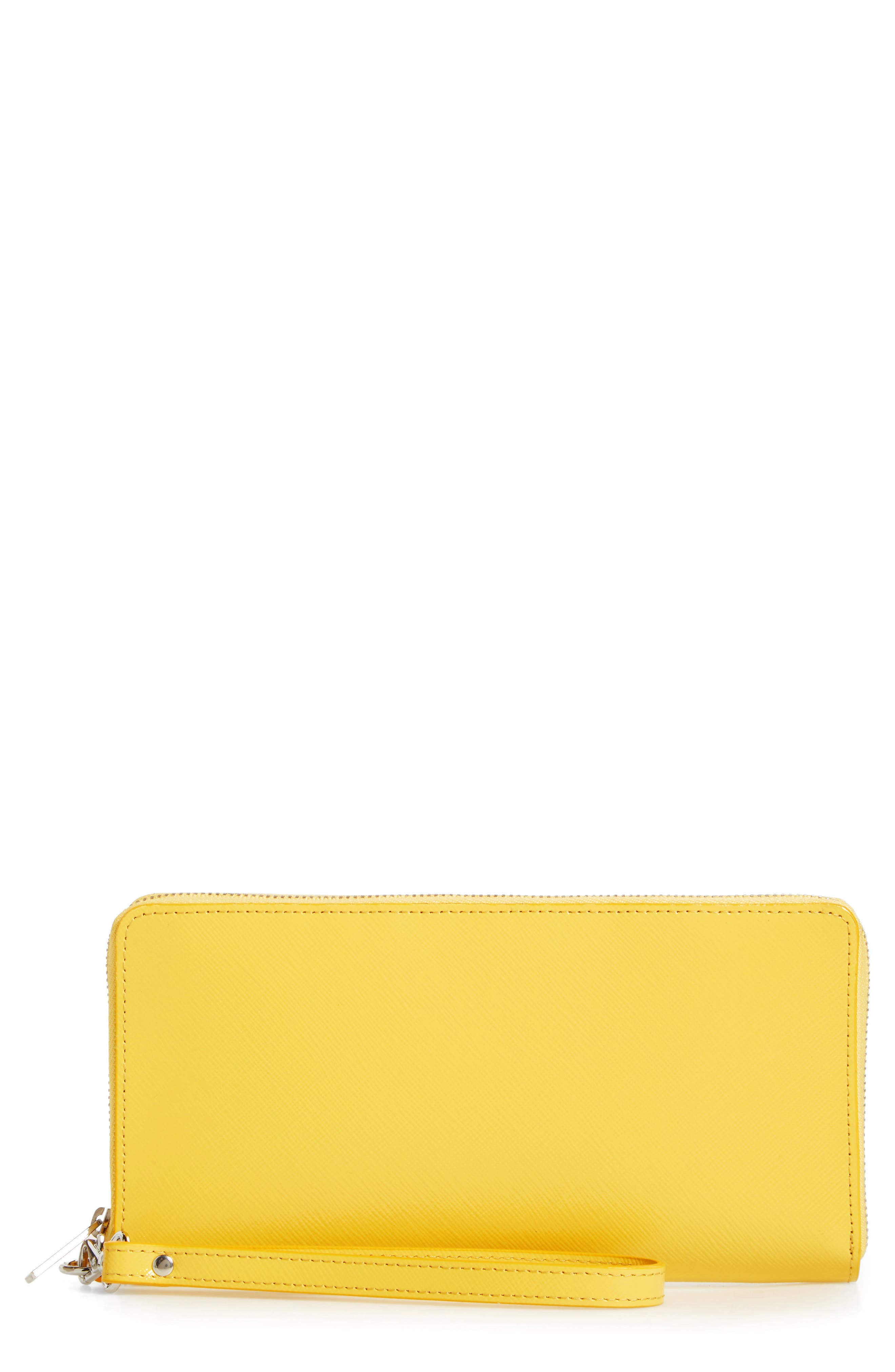 Leather Zip Around Wallet,                             Main thumbnail 1, color,                             Yellow Zest