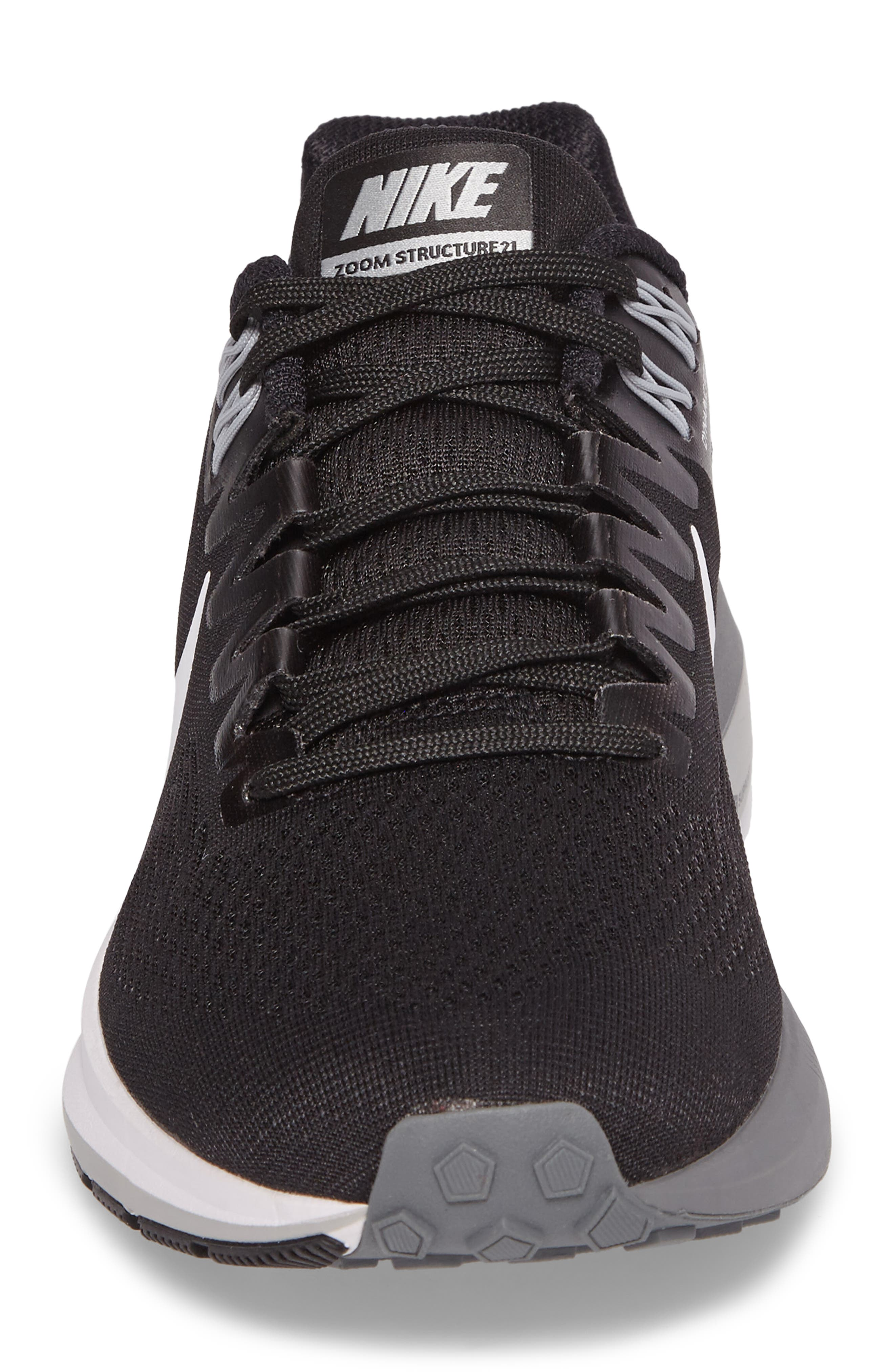 Air Zoom Structure 21 Running Shoe,                             Alternate thumbnail 4, color,                             Black/White/Wolf Grey