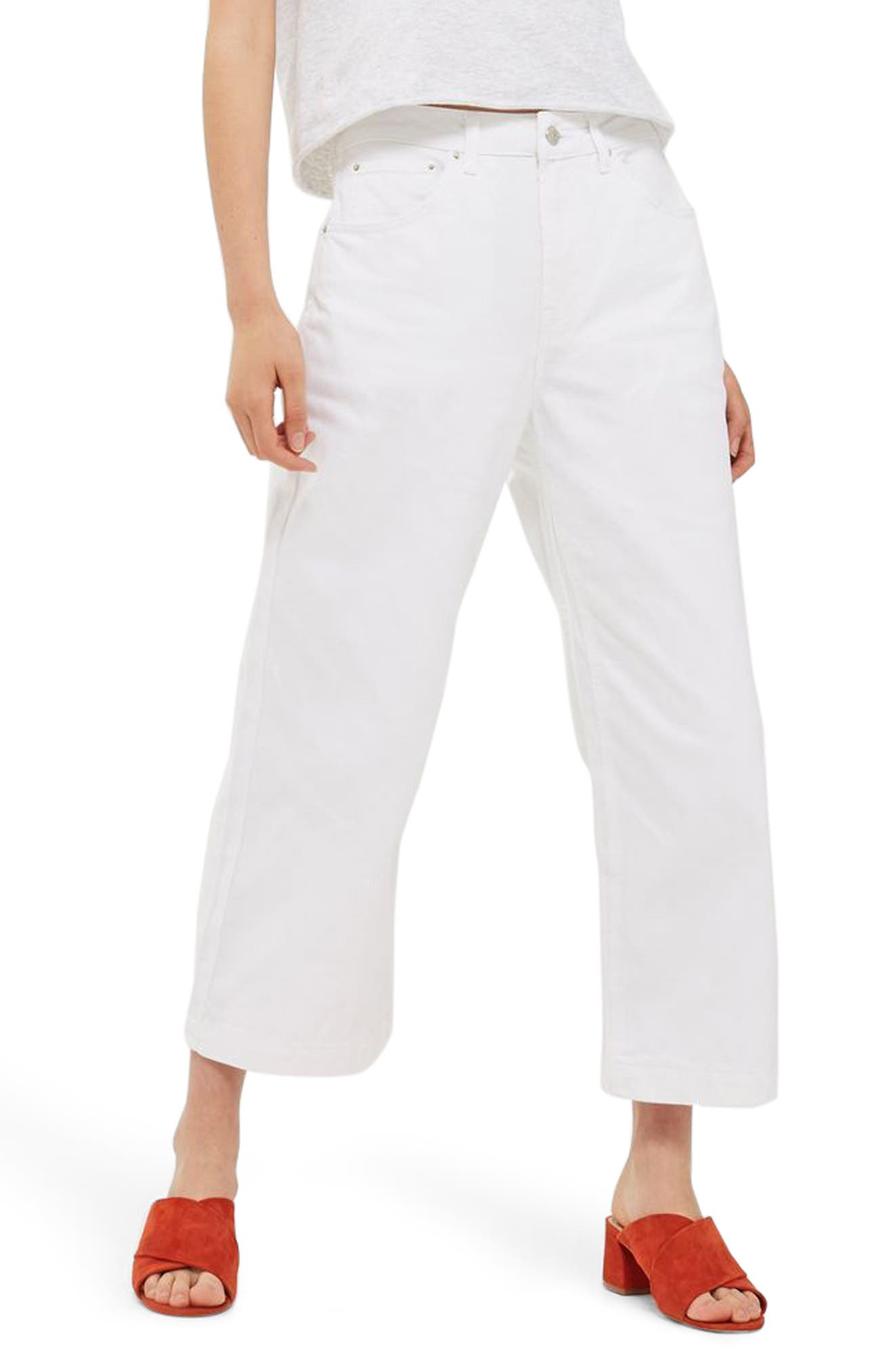 Wide Leg Cropped Jeans,                             Main thumbnail 1, color,                             White