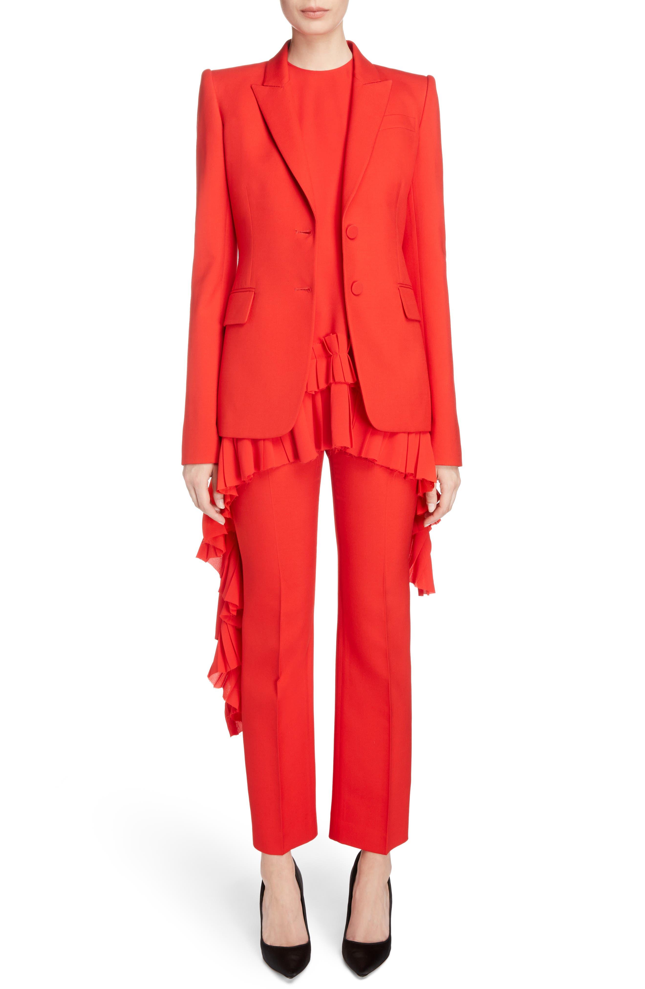 Wool & Silk Blend Blazer,                             Alternate thumbnail 5, color,                             Lust Red