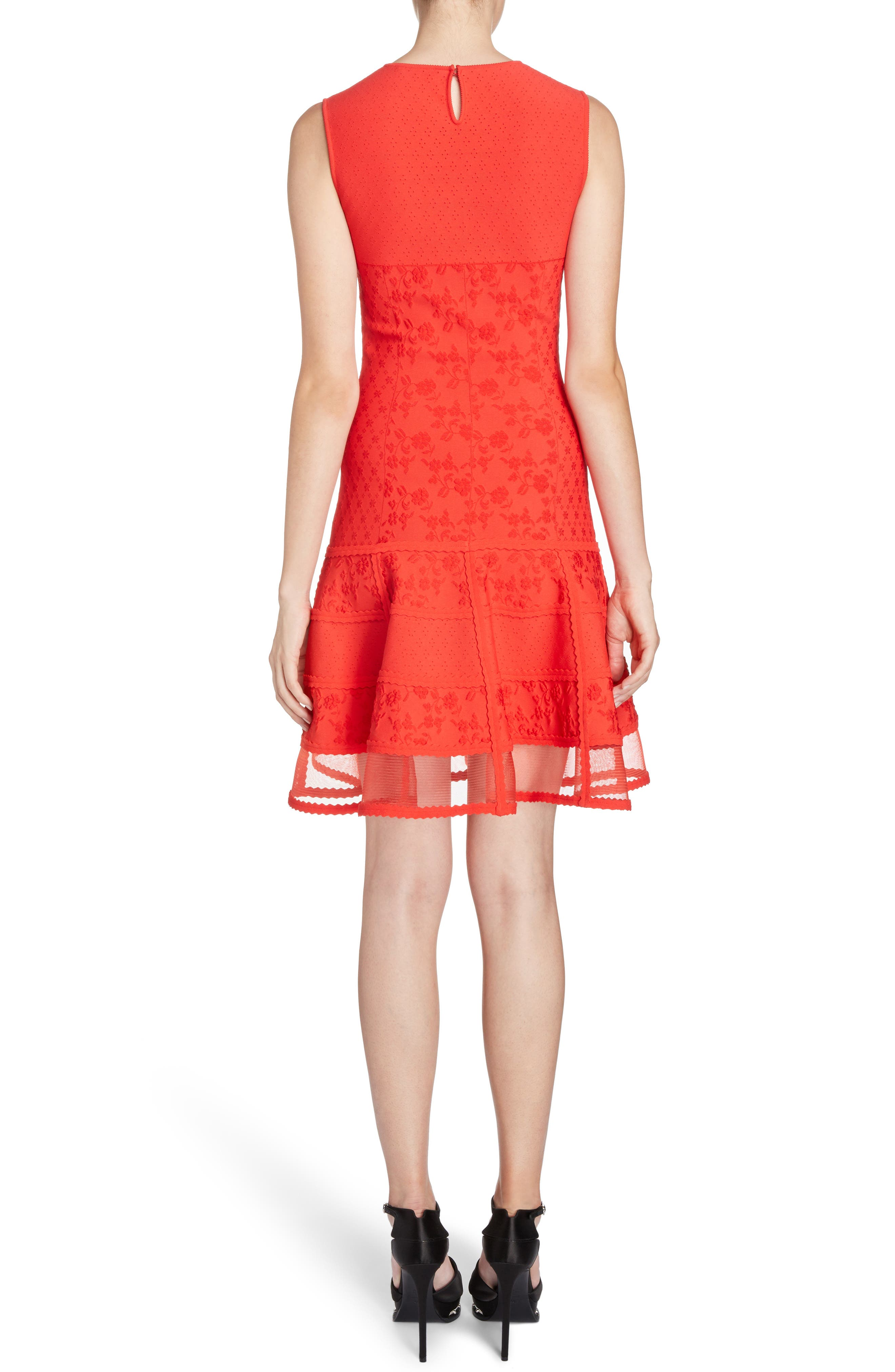 Knit Patchwork Dress,                             Alternate thumbnail 2, color,                             Lust Red