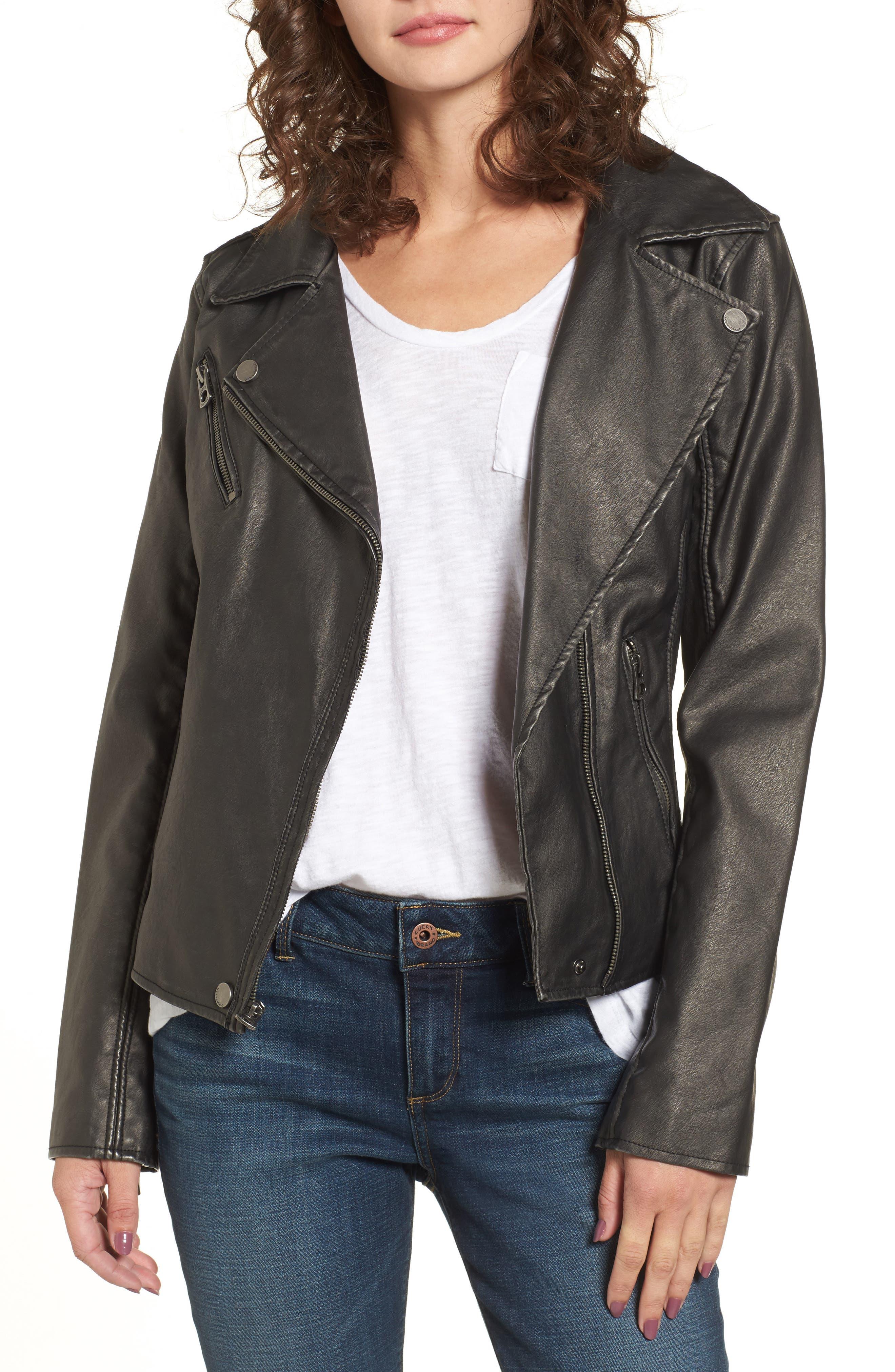 Faux Leather Jacket,                             Main thumbnail 1, color,                             Grey